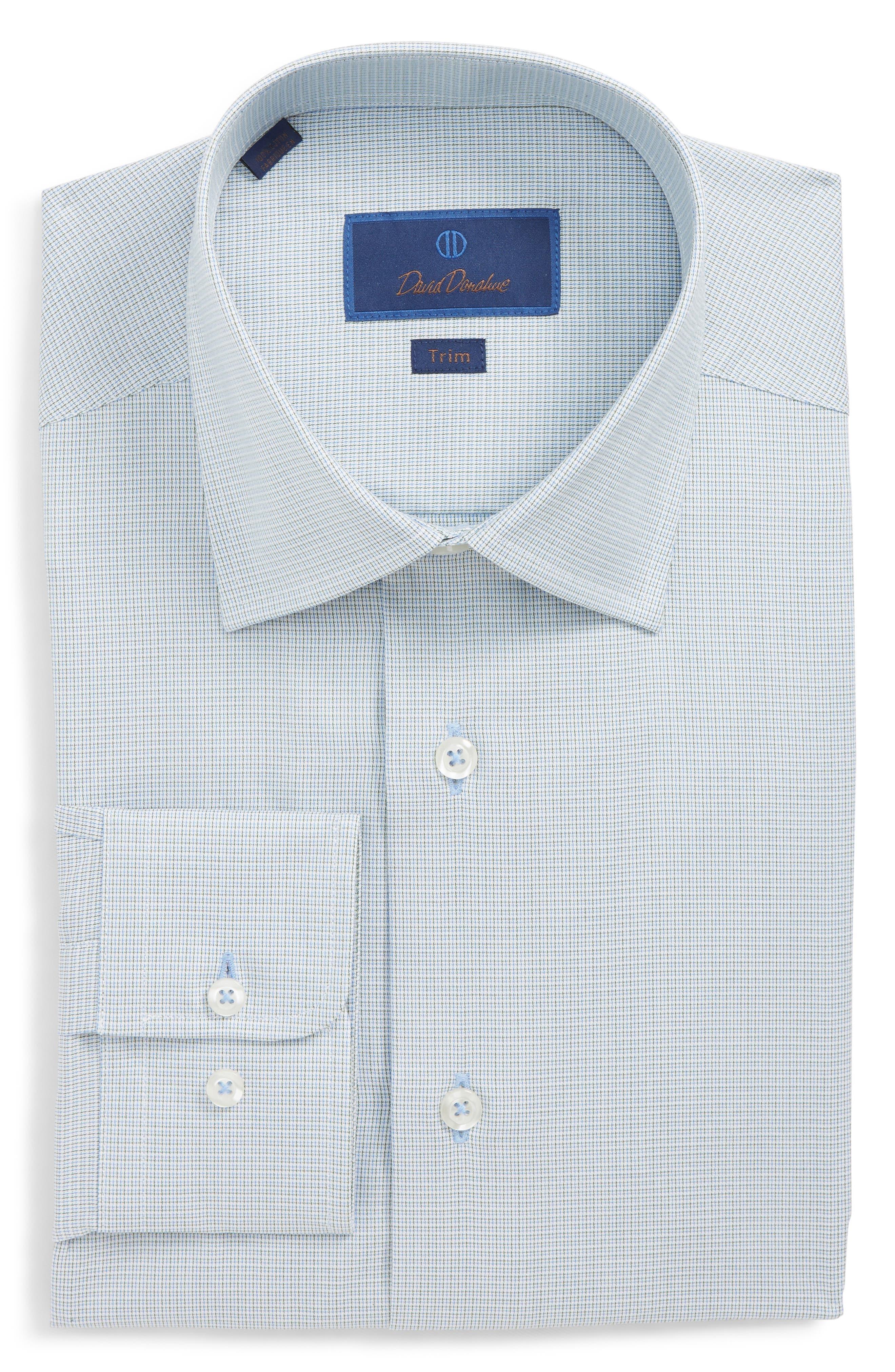 Trim Fit Check Dress Shirt,                         Main,                         color, OLIVE