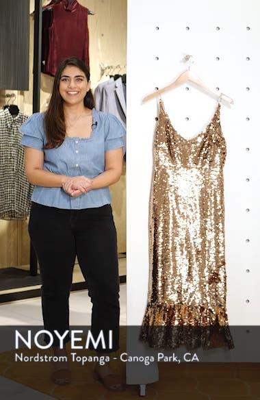 Aidan Sequin Ruffle Hem Midi Dress, sales video thumbnail