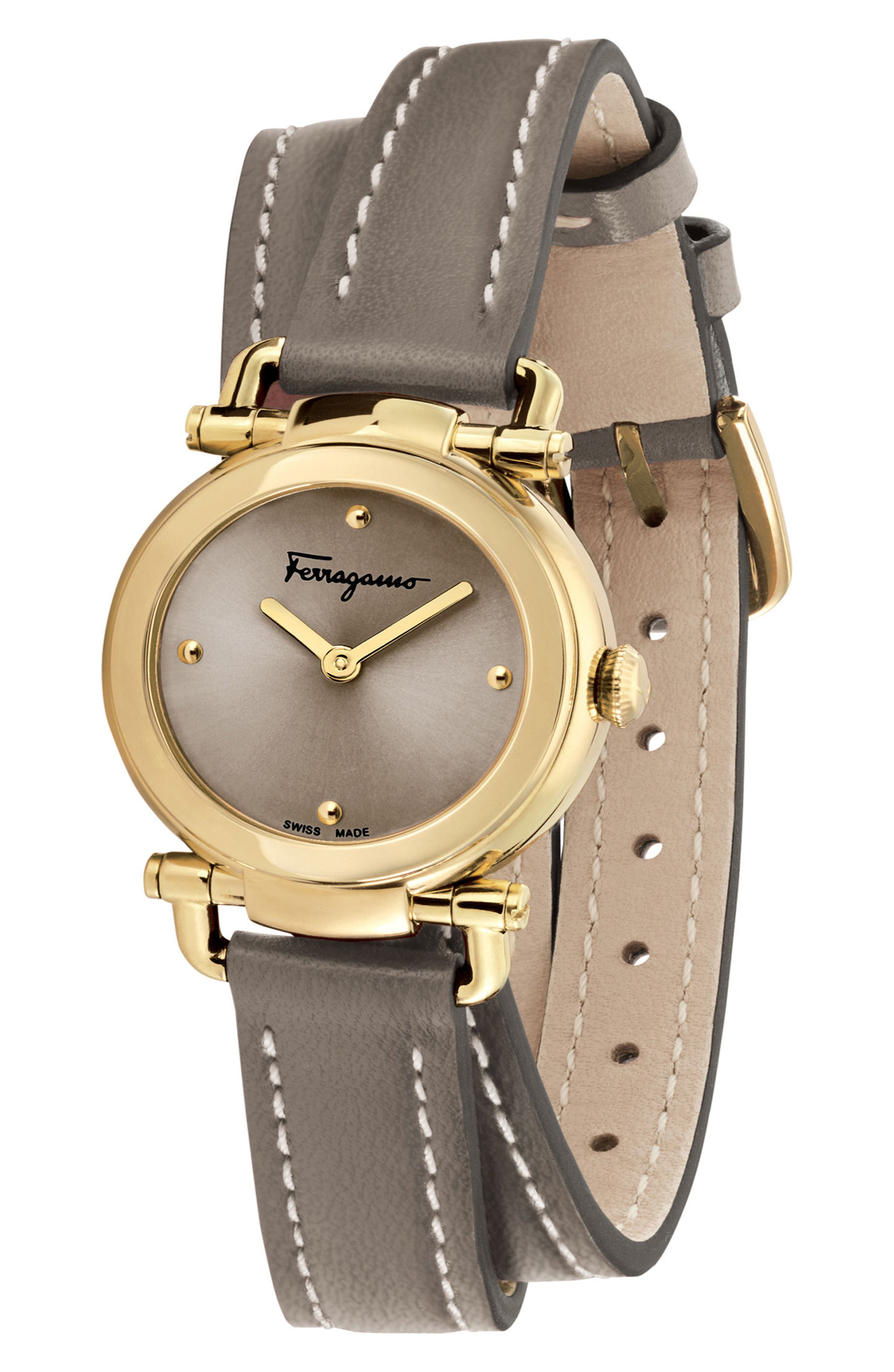 Gancino Leather Strap Watch, 26mm,                             Alternate thumbnail 4, color,                             BROWN/ GOLD