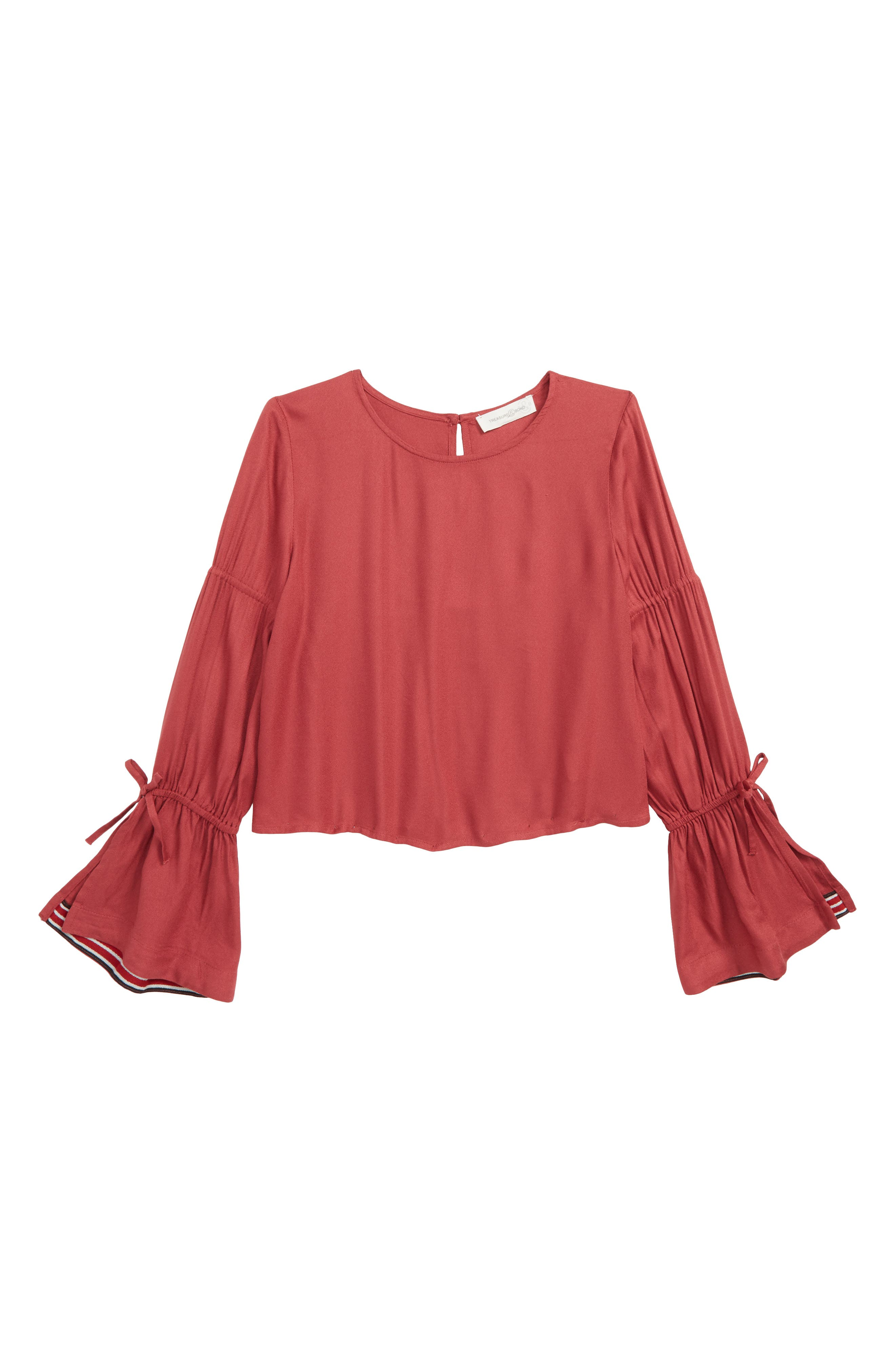 Bell Sleeve Top,                             Main thumbnail 1, color,                             RED EARTH
