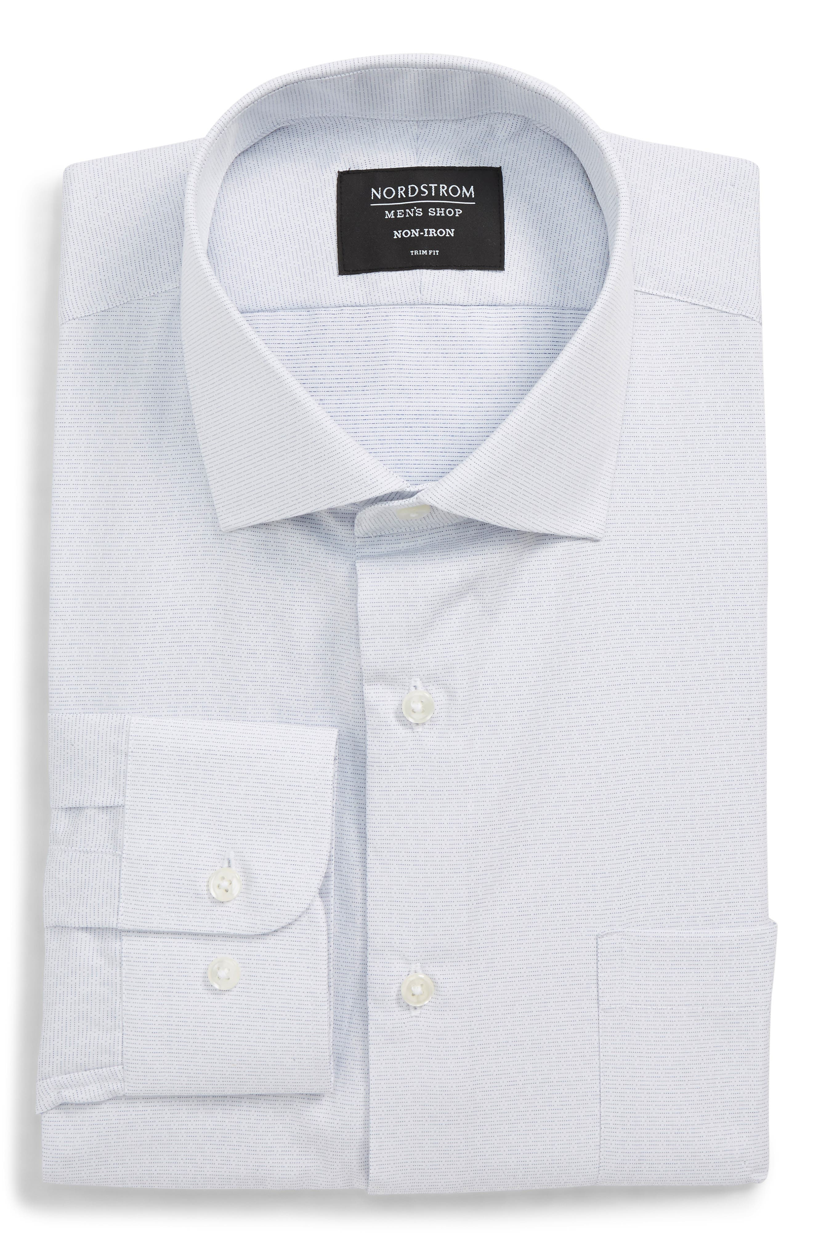 Trim Fit Non-Iron Print Dress Shirt,                             Alternate thumbnail 5, color,                             050