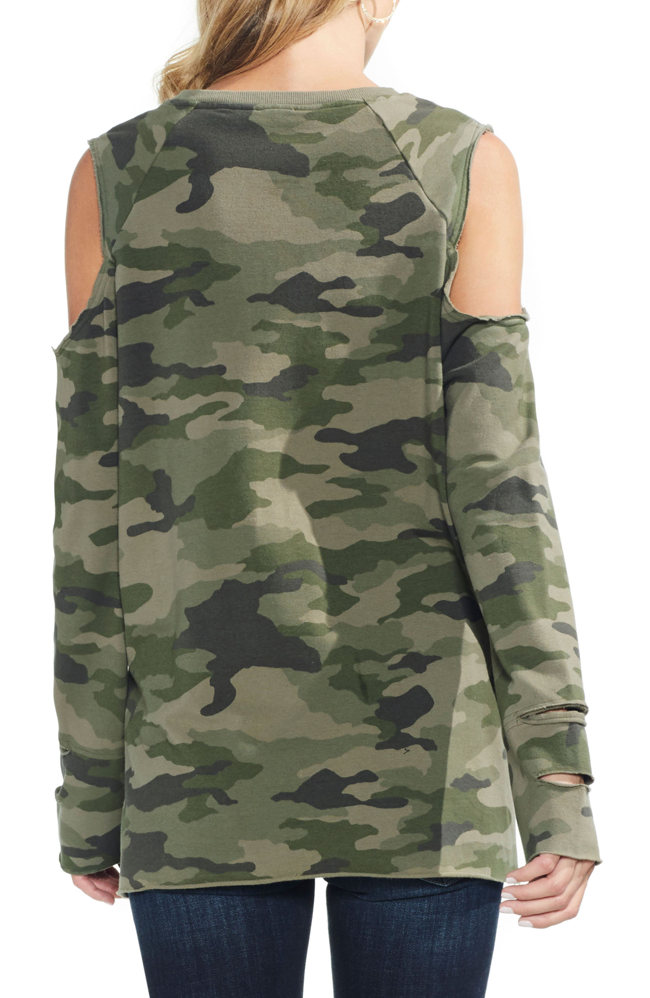 Cold Shoulder Camo Sweatshirt,                             Alternate thumbnail 2, color,                             344