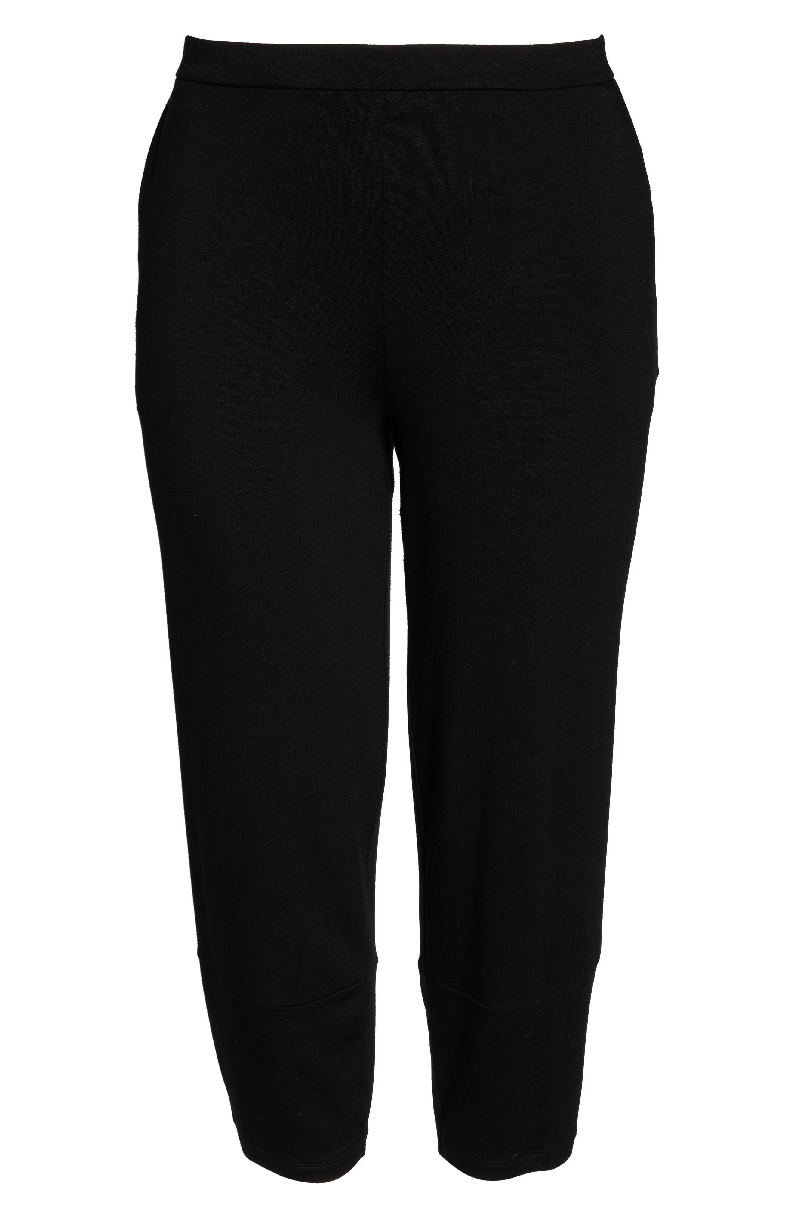 Terry Lantern High Rise Ankle Pants,                             Alternate thumbnail 11, color,                             BLACK