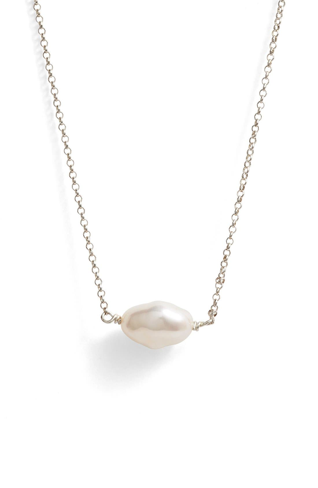 Keshi Cultured Pearl Necklace,                             Alternate thumbnail 3, color,                             STERLING WHITE PEARL