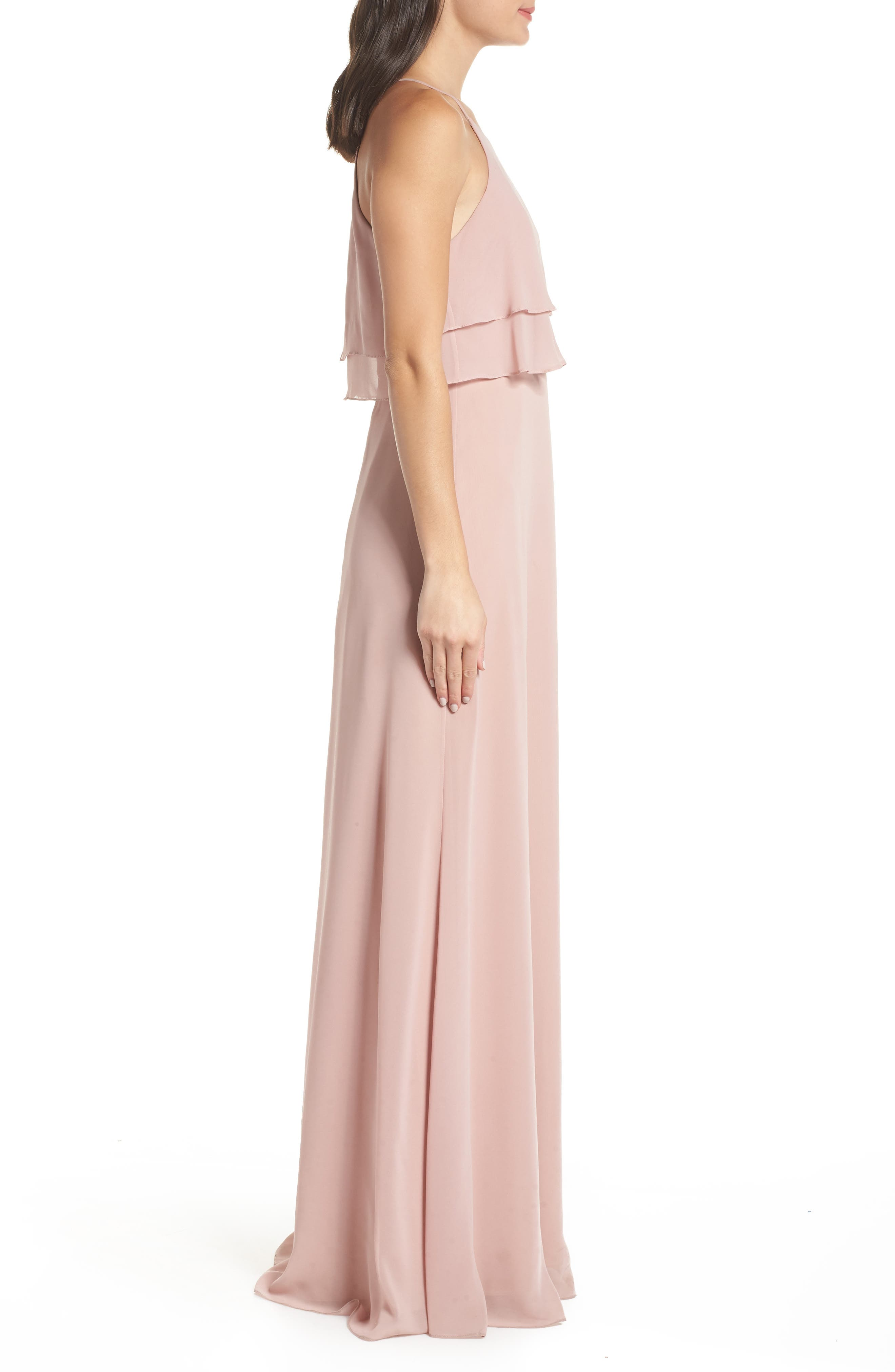 Charlie Ruffle Chiffon Gown,                             Alternate thumbnail 3, color,                             WHIPPED APRICOT