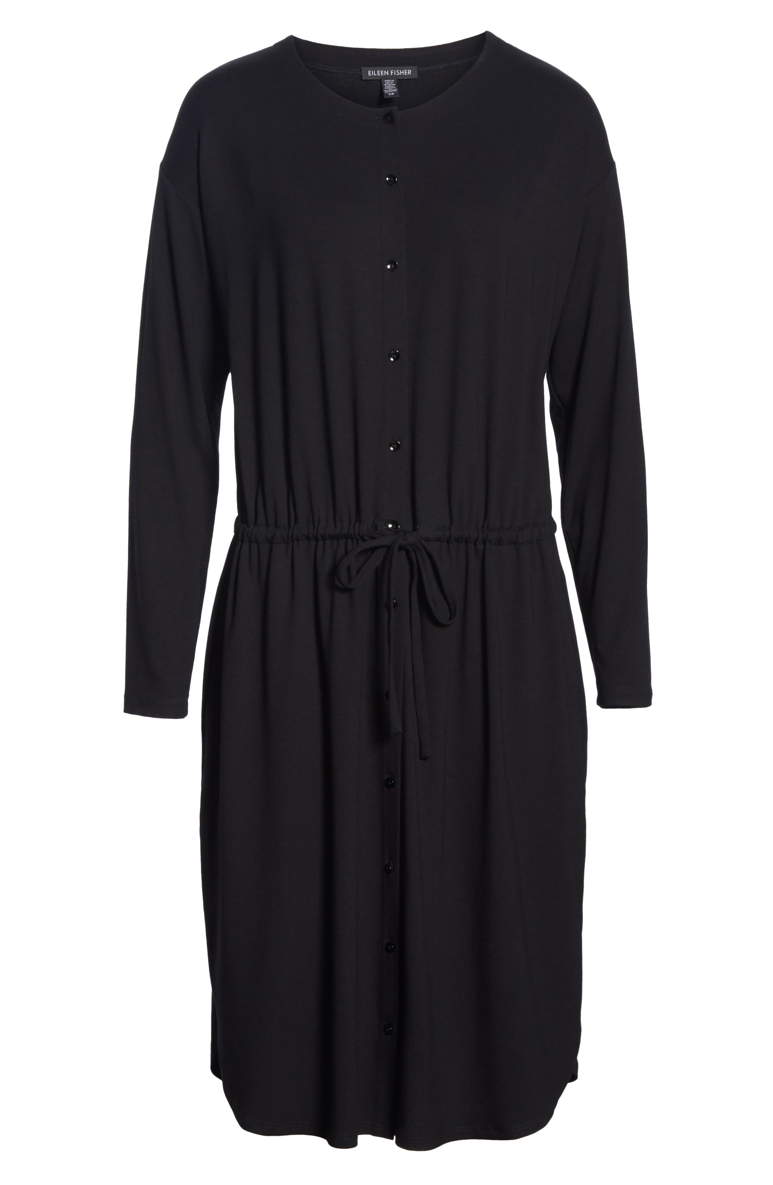 Drawstring Waist Dress,                             Alternate thumbnail 7, color,                             BLACK