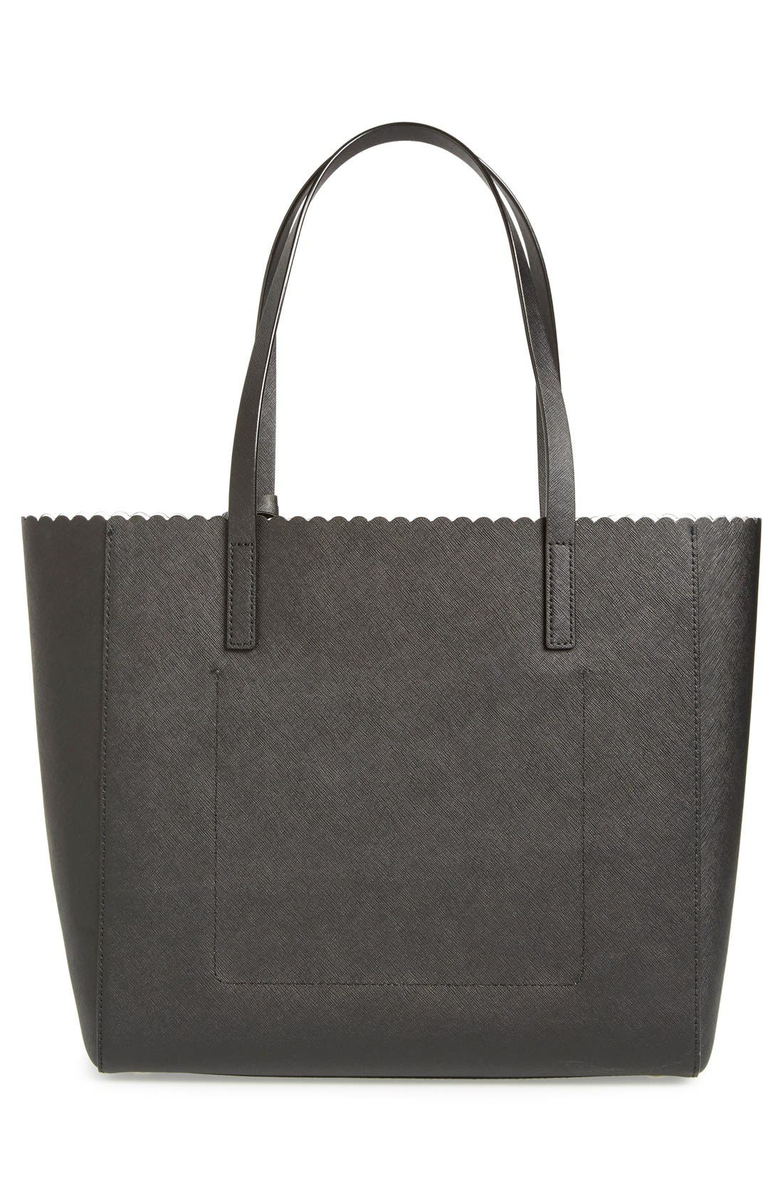 KATE SPADE NEW YORK,                             'cape drive - hallie' scalloped saffiano leather tote,                             Alternate thumbnail 2, color,                             002