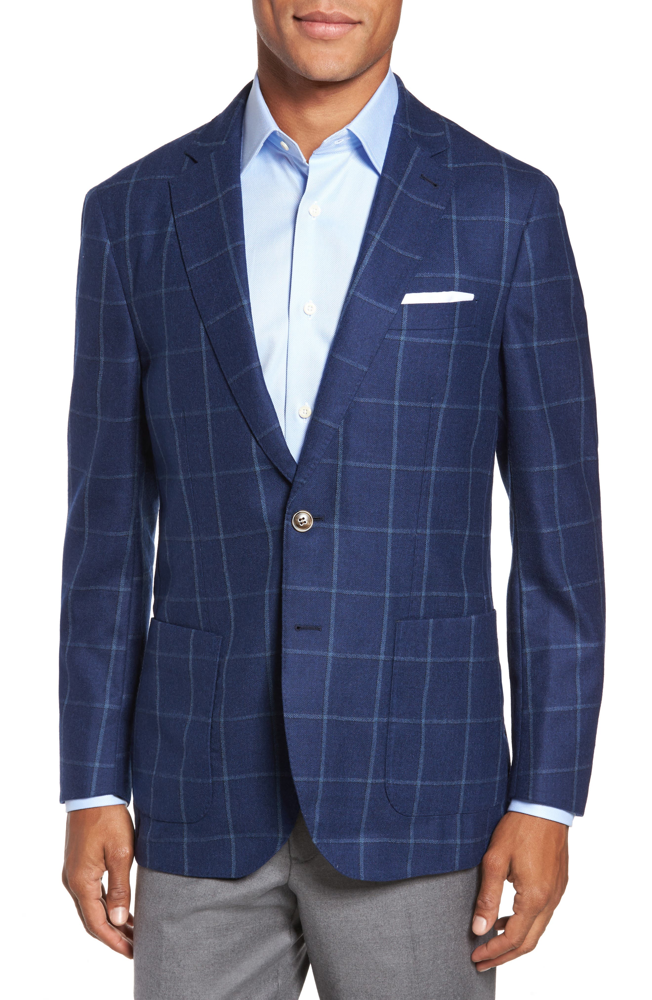 Windowpane Wool Blazer,                         Main,                         color,