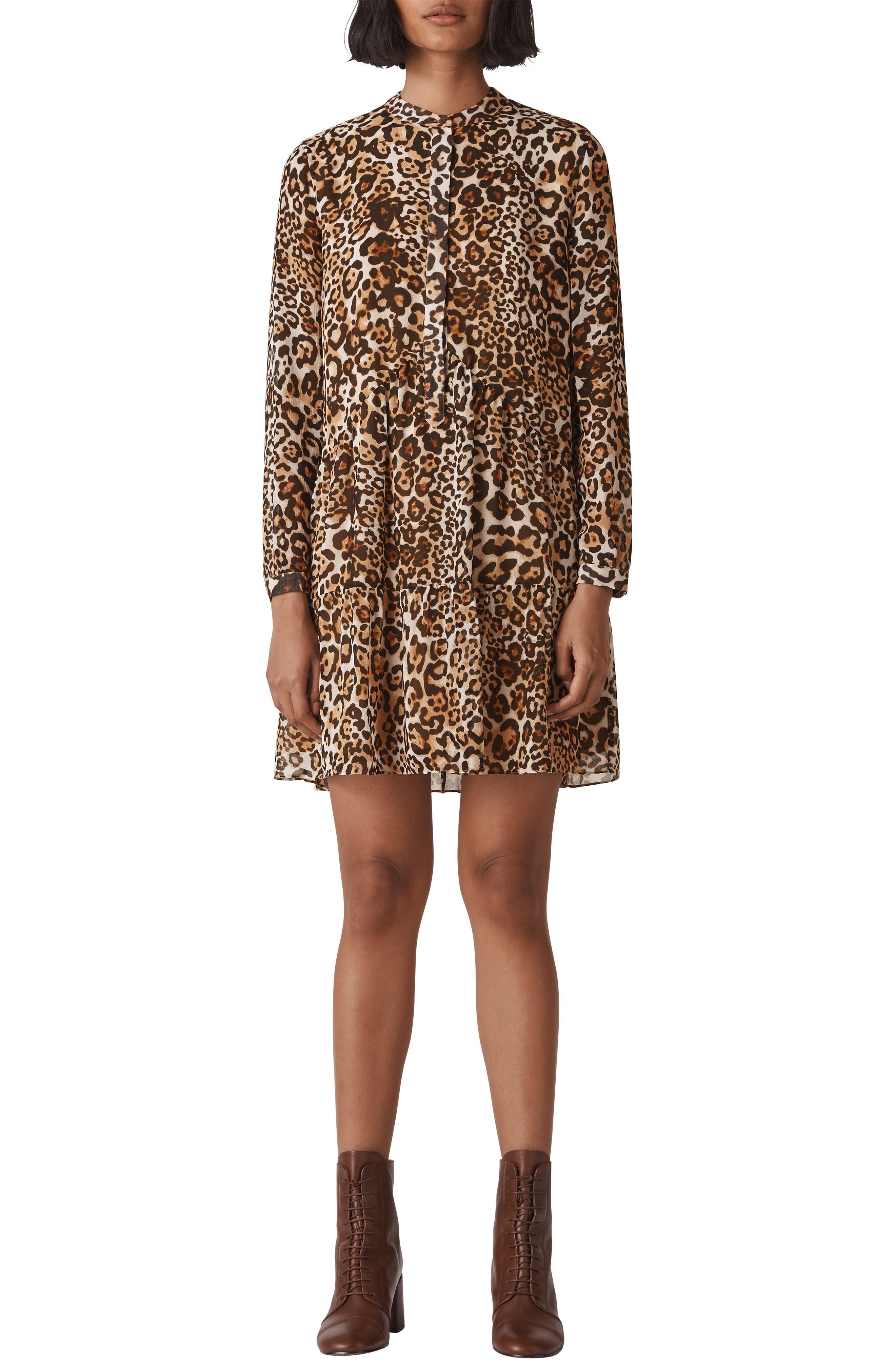 Leopard Print Shirtdress,                             Alternate thumbnail 3, color,                             LEOPARD PRINT