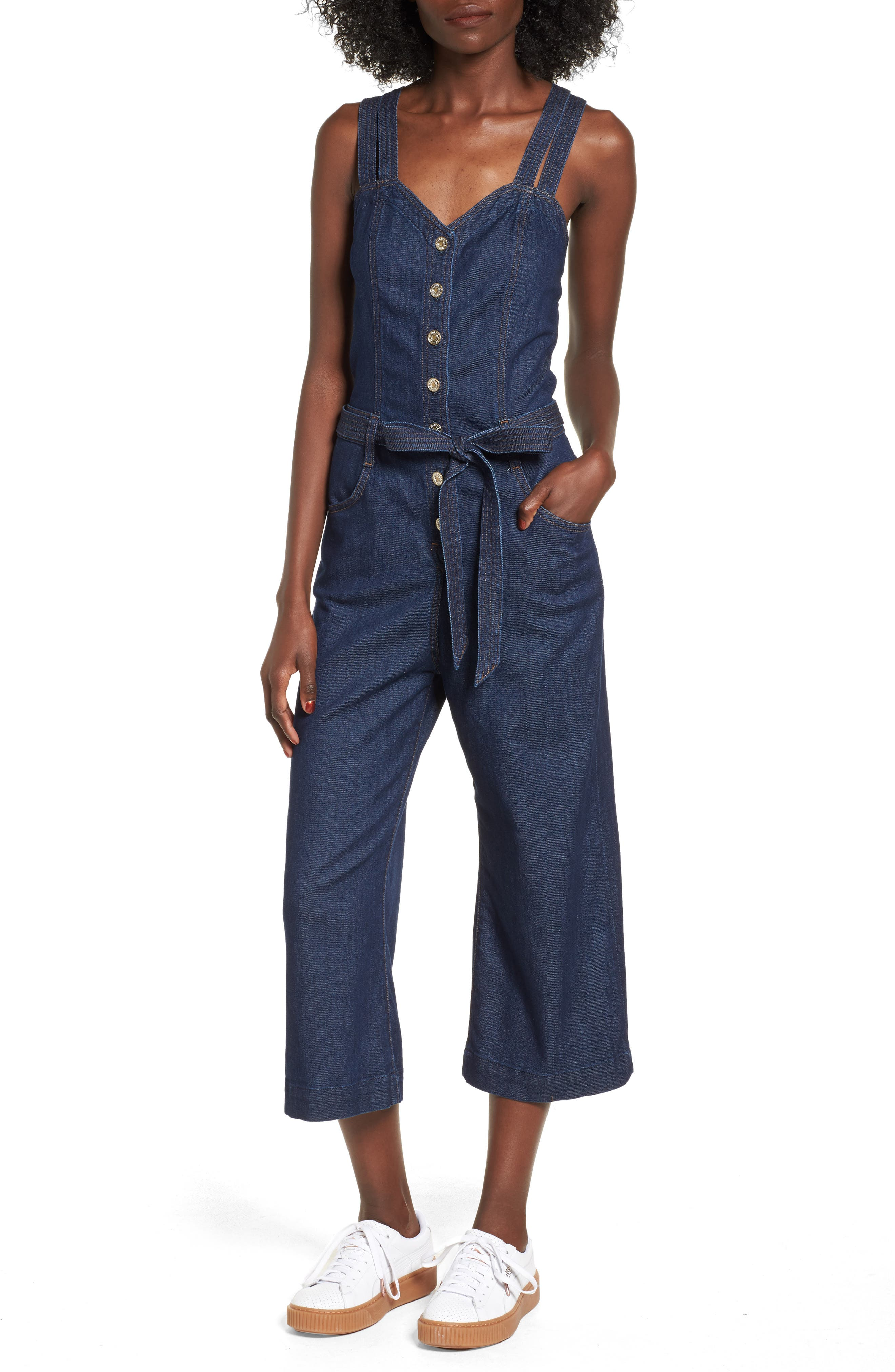 Denim Jumpsuit,                             Main thumbnail 1, color,                             400