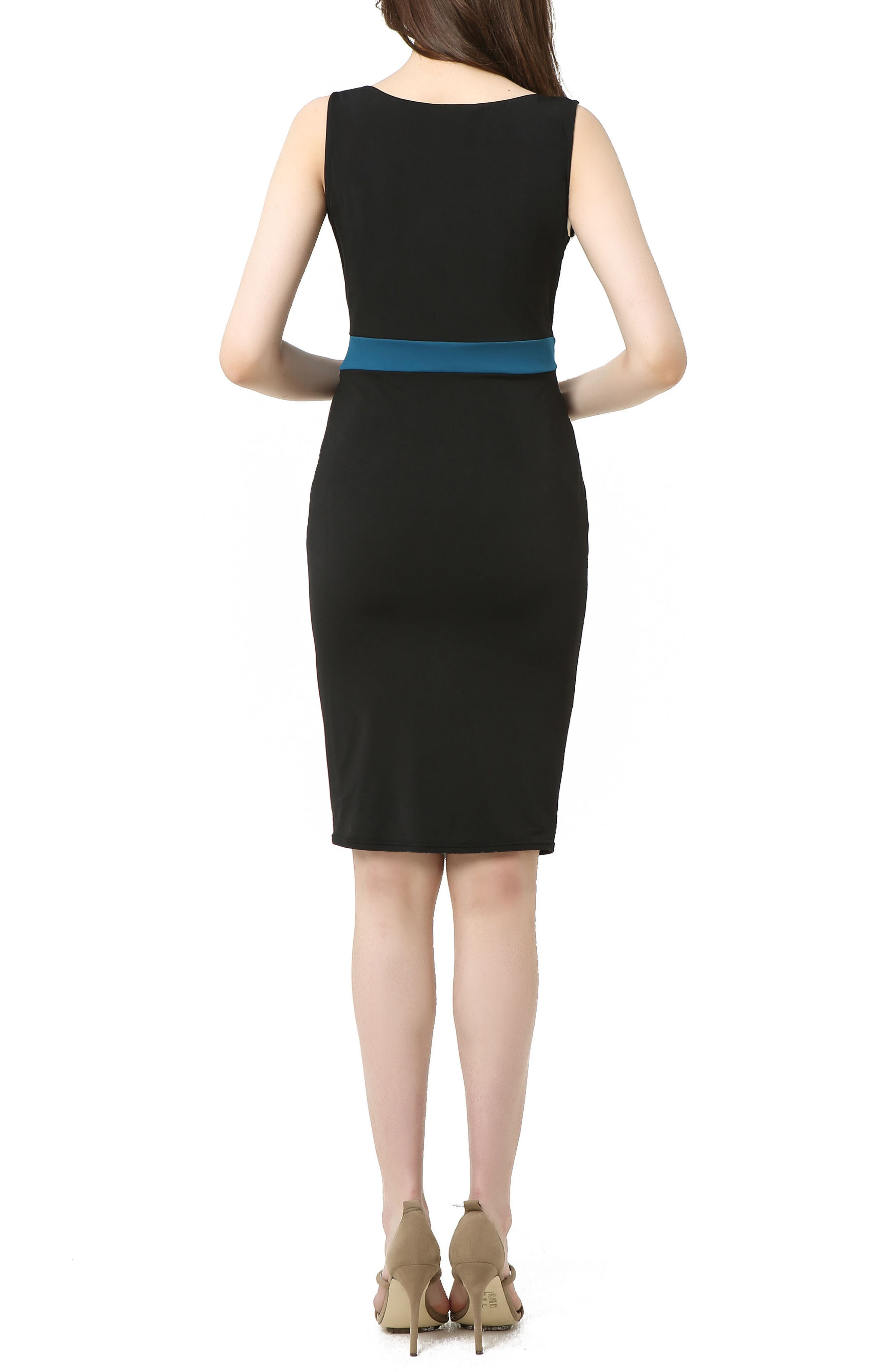 Sophia Colorblock Body-Con Maternity Dress,                             Alternate thumbnail 2, color,                             BLACK/ DEEP SEA