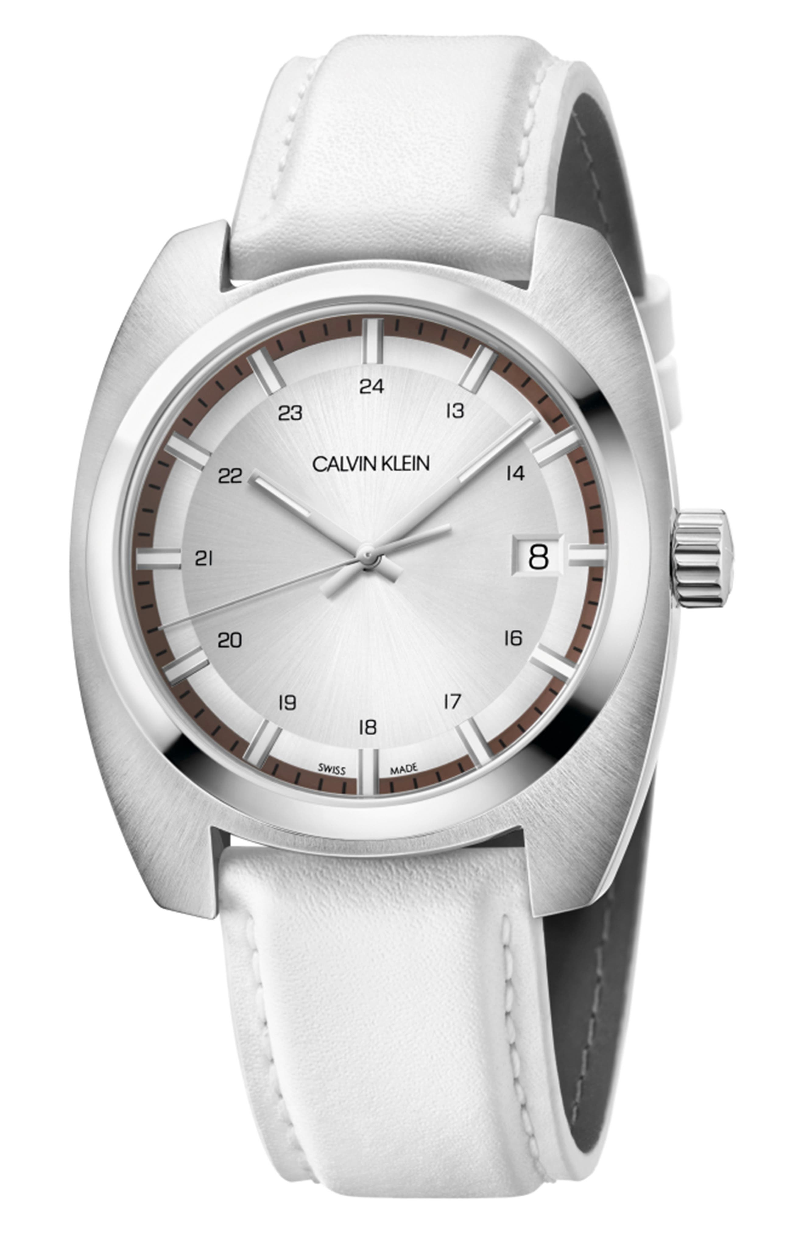 Achieve Leather Band Watch, 43mm,                         Main,                         color, WHITE/ SILVER