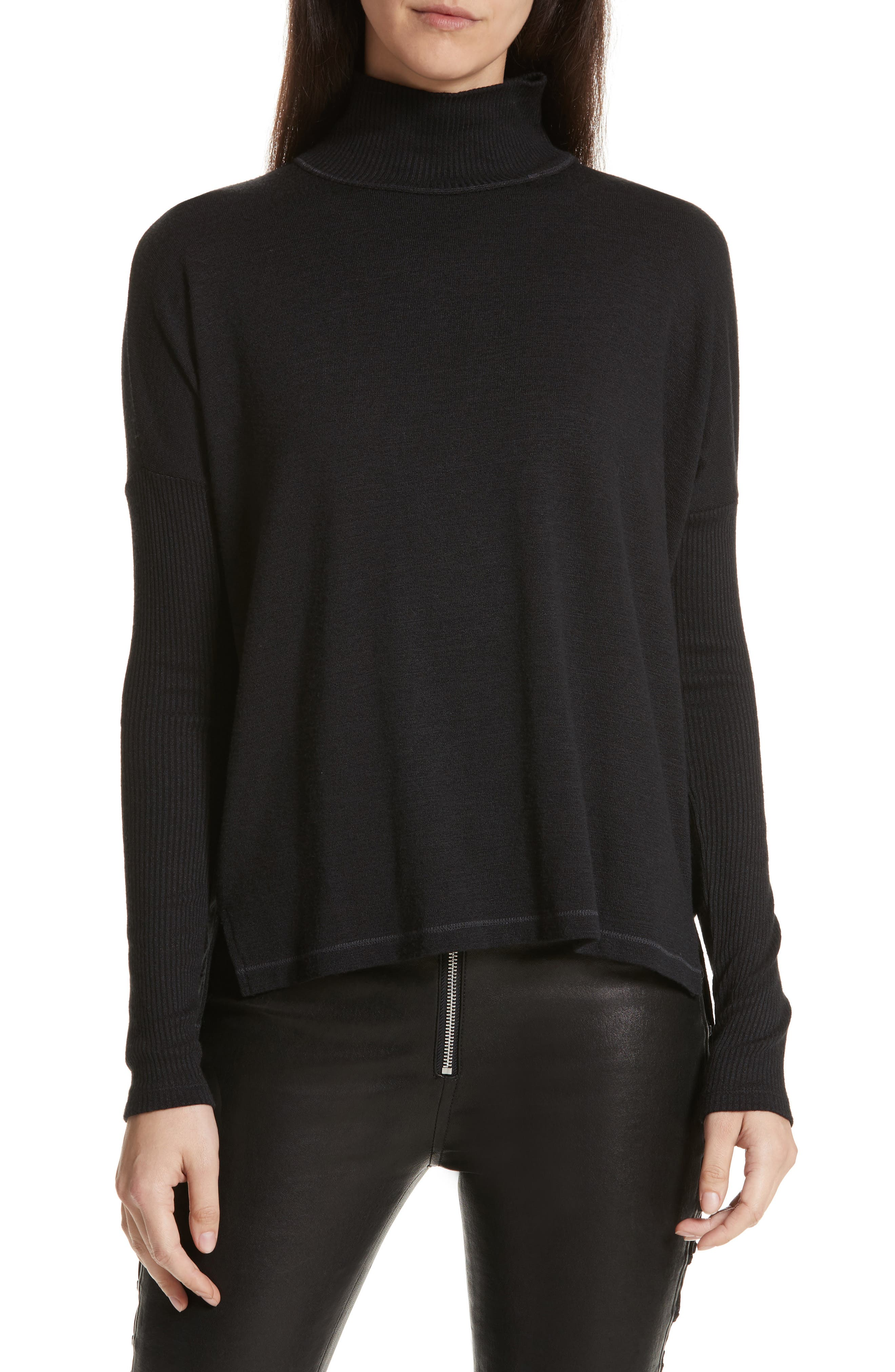 JEAN Amelie Back Cutout Turtleneck,                             Main thumbnail 1, color,                             001