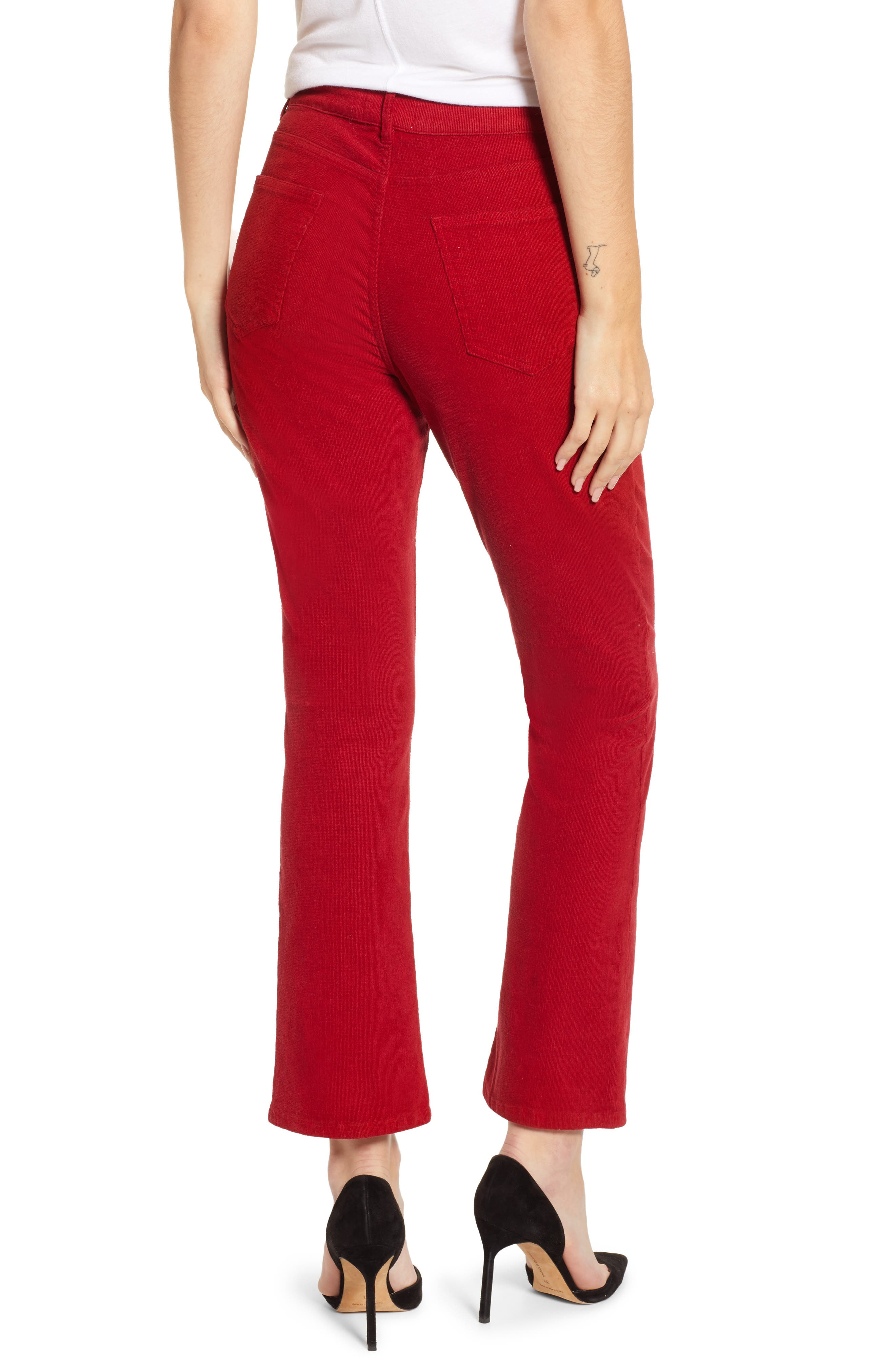 Corduroy Slim Crop Flare Pants,                             Alternate thumbnail 2, color,                             MINERAL RED