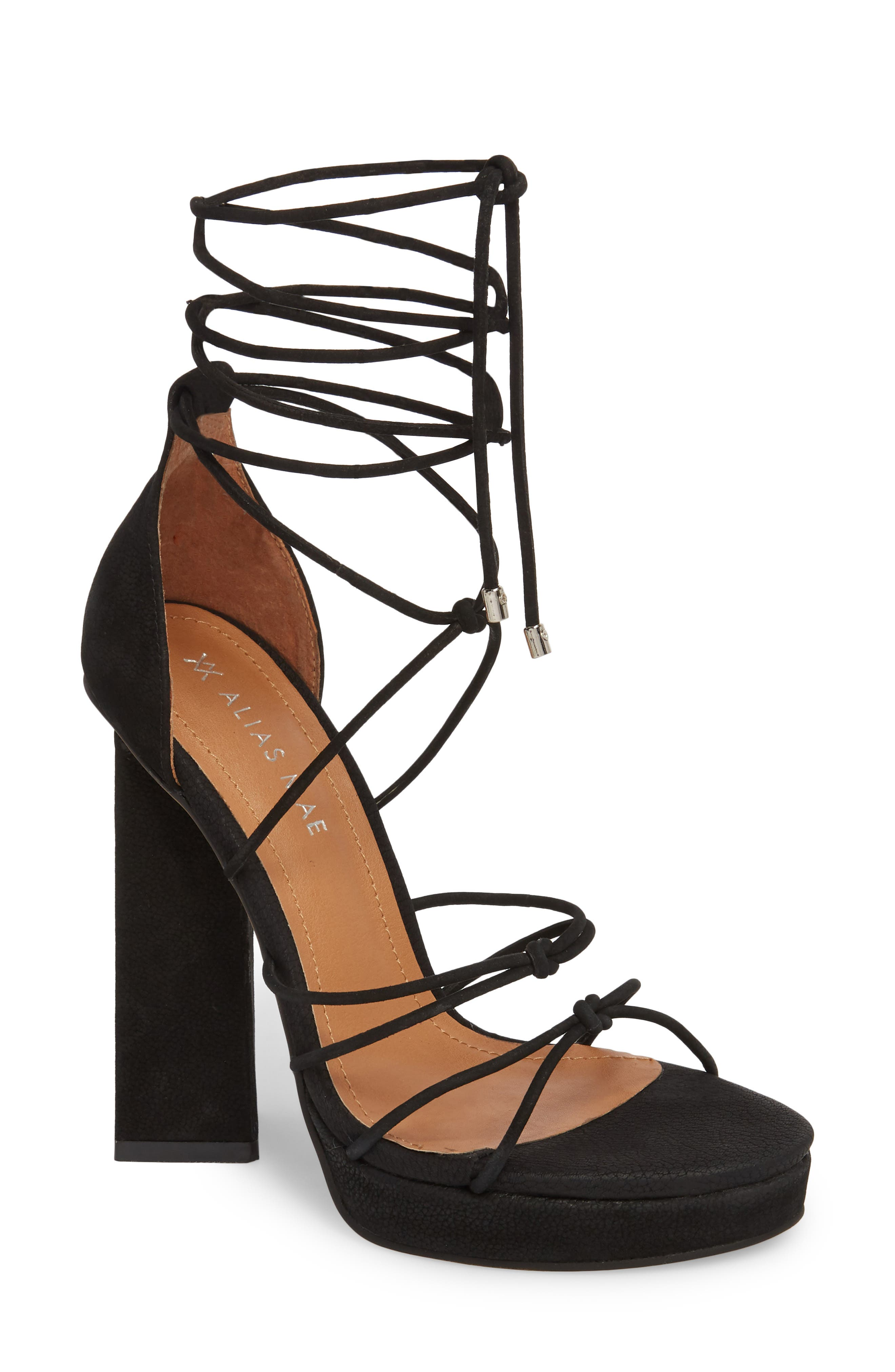 Bordega Ankle Wrap Sandal,                         Main,                         color, BLACK LEATHER