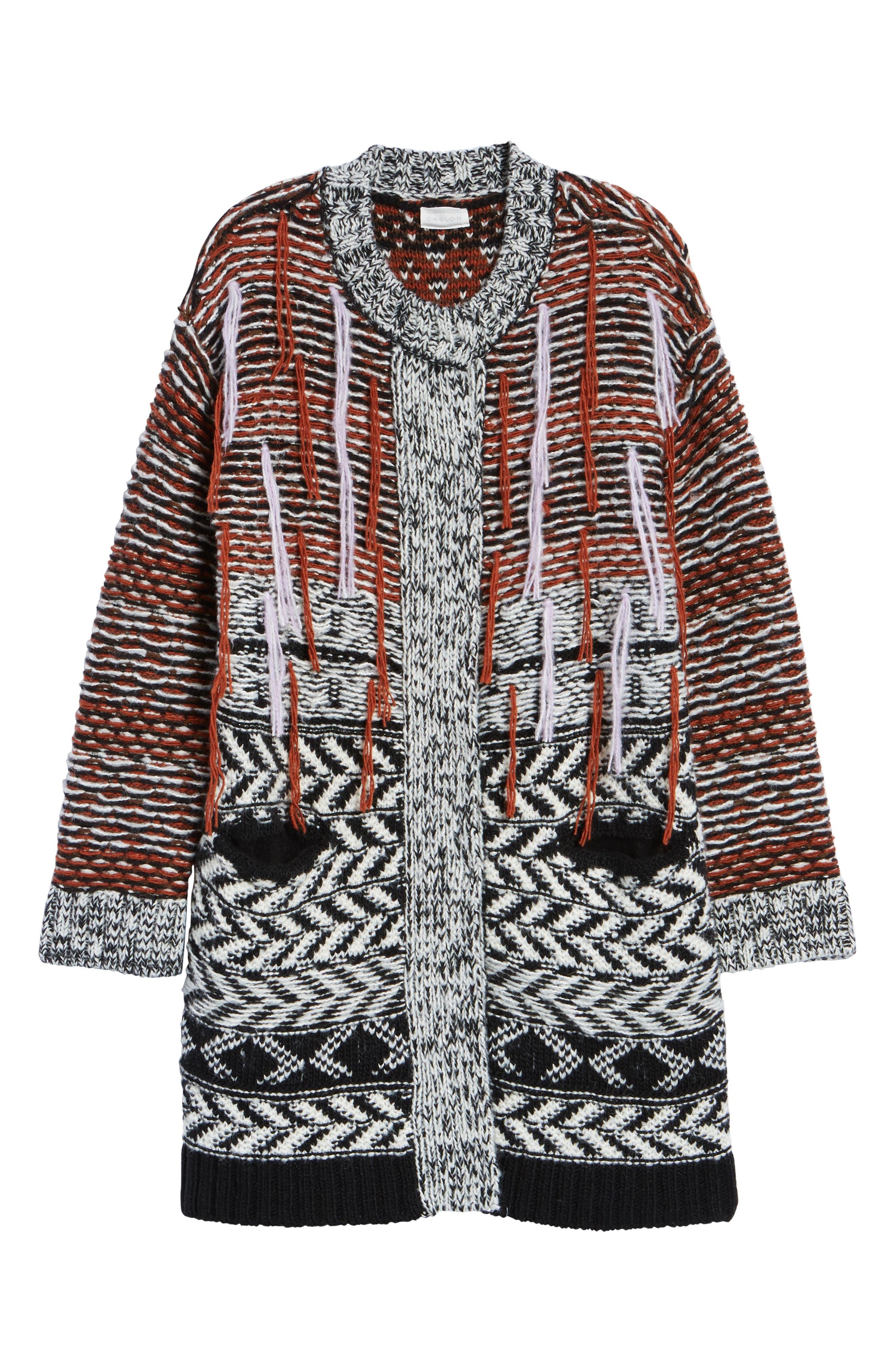 Multi Jacquard Sweater Coat,                             Alternate thumbnail 6, color,                             001