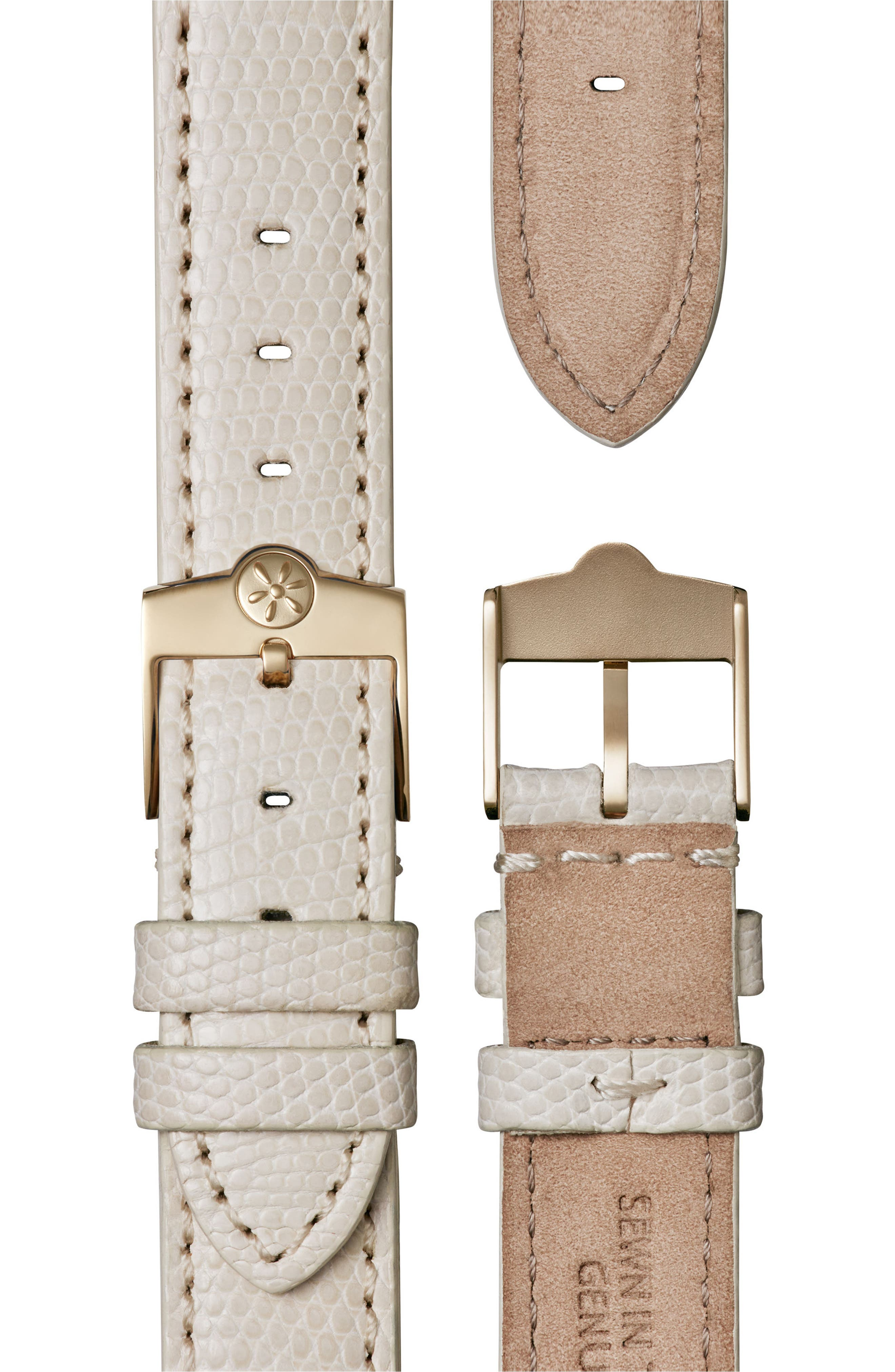 The Shirley Fromer Leather Strap Watch, 32mm x 25mm,                             Alternate thumbnail 4, color,                             WHITE/ GOLD