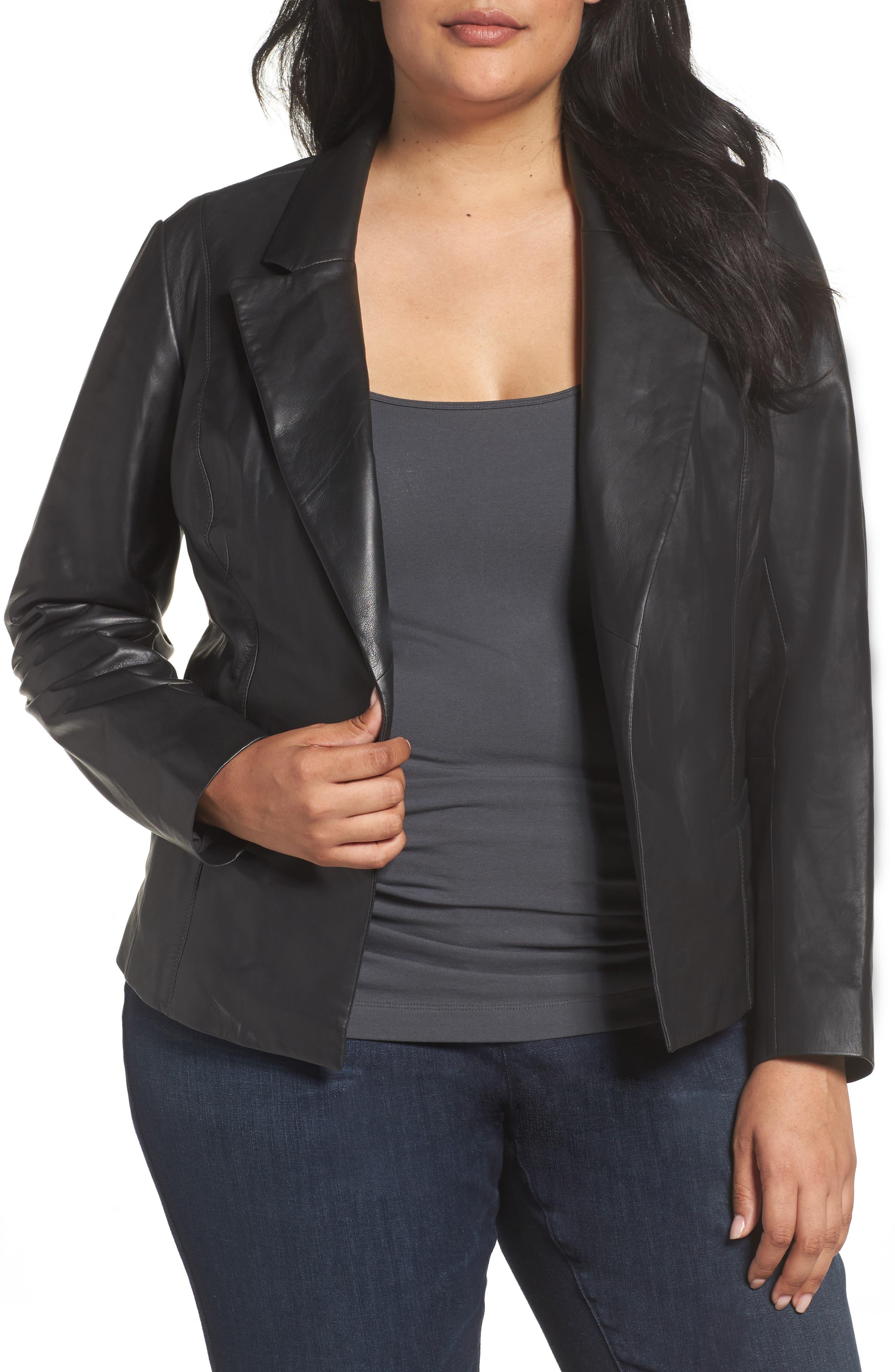 Leather Blazer,                         Main,                         color, 001