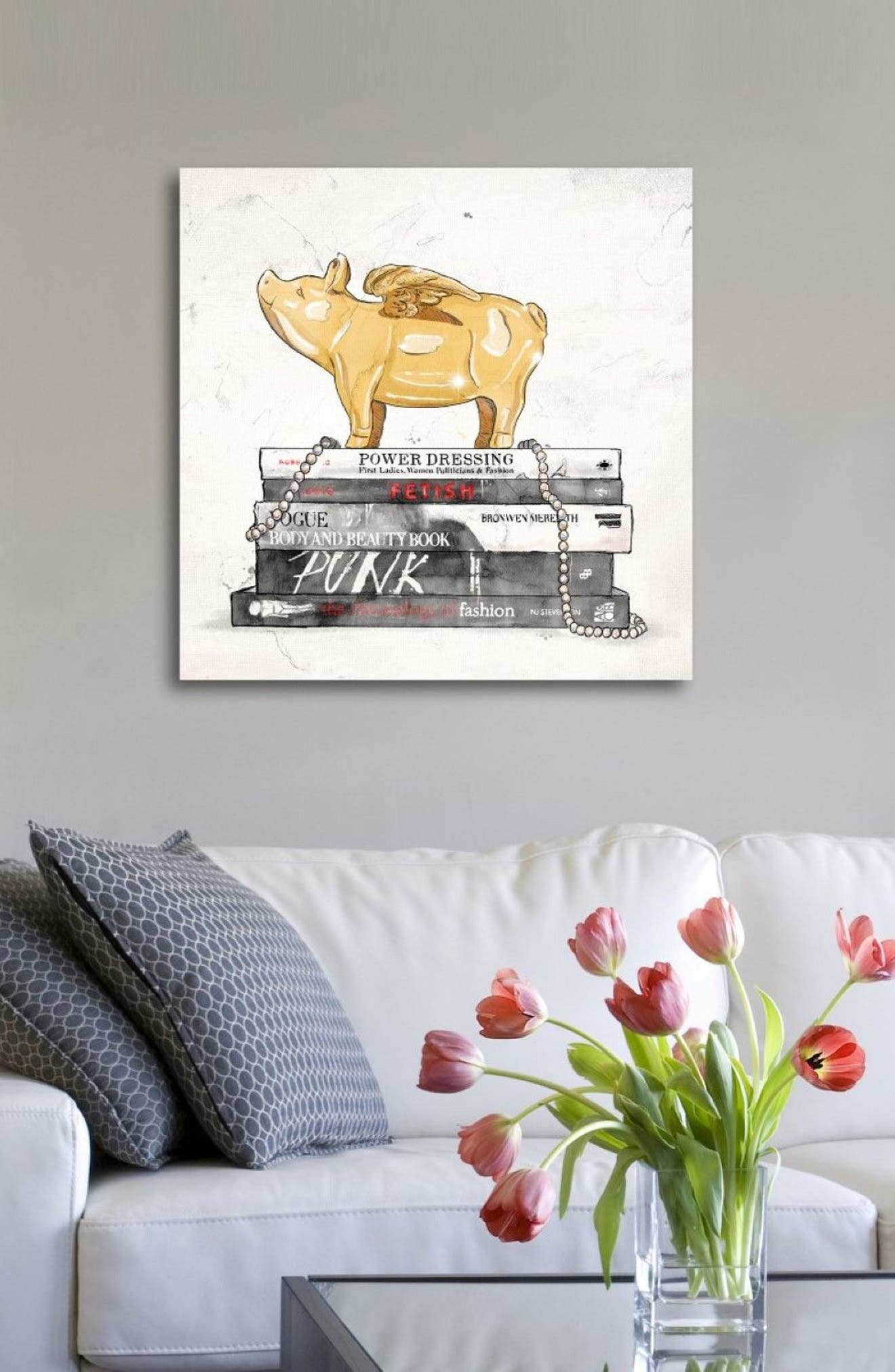 Flying Pig Books Luxe Canvas Print,                             Alternate thumbnail 3, color,
