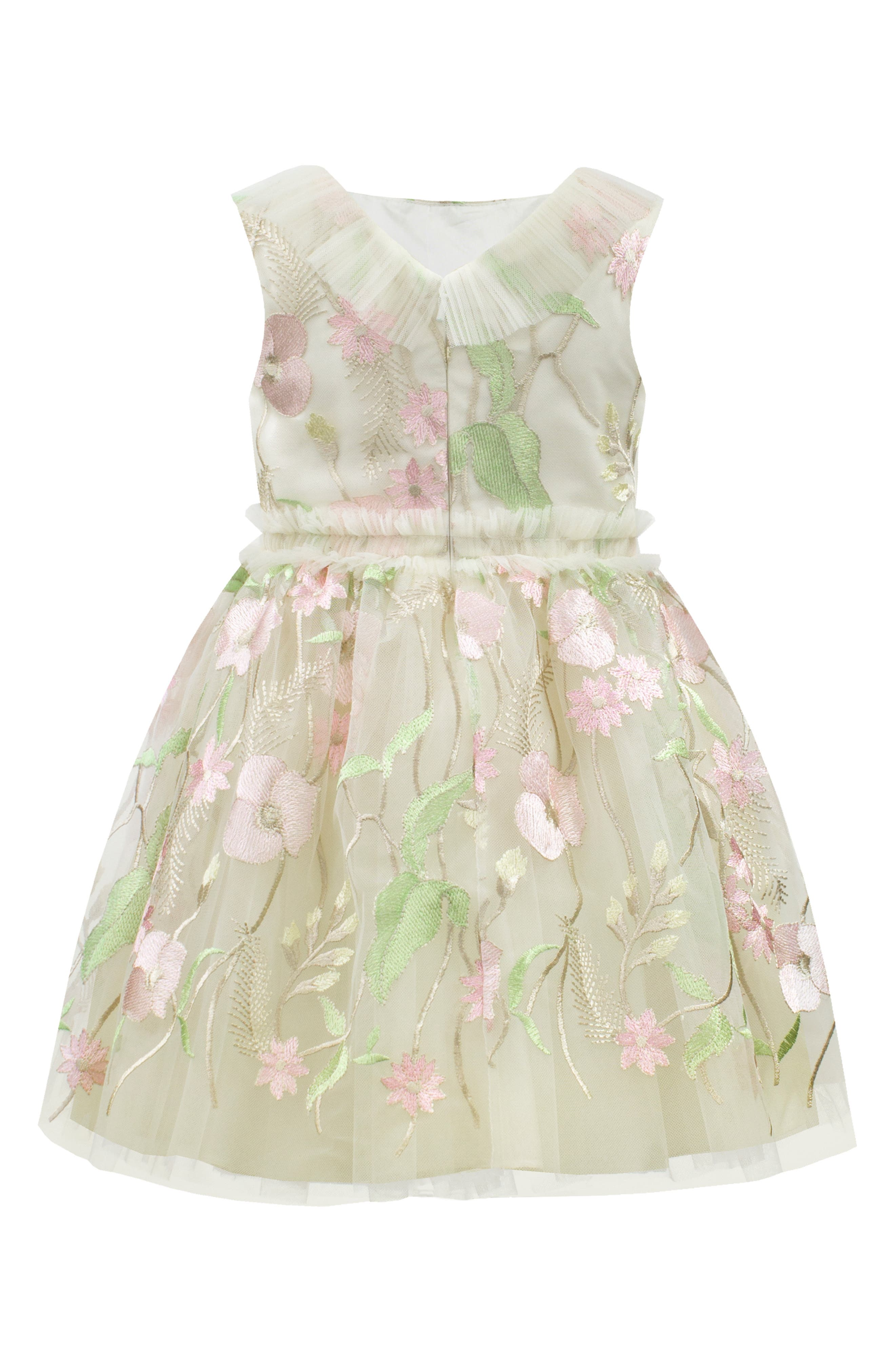 DAVID CHARLES,                             Pastel Embroidered Tulle Dress,                             Alternate thumbnail 2, color,                             IVORY/ PINK