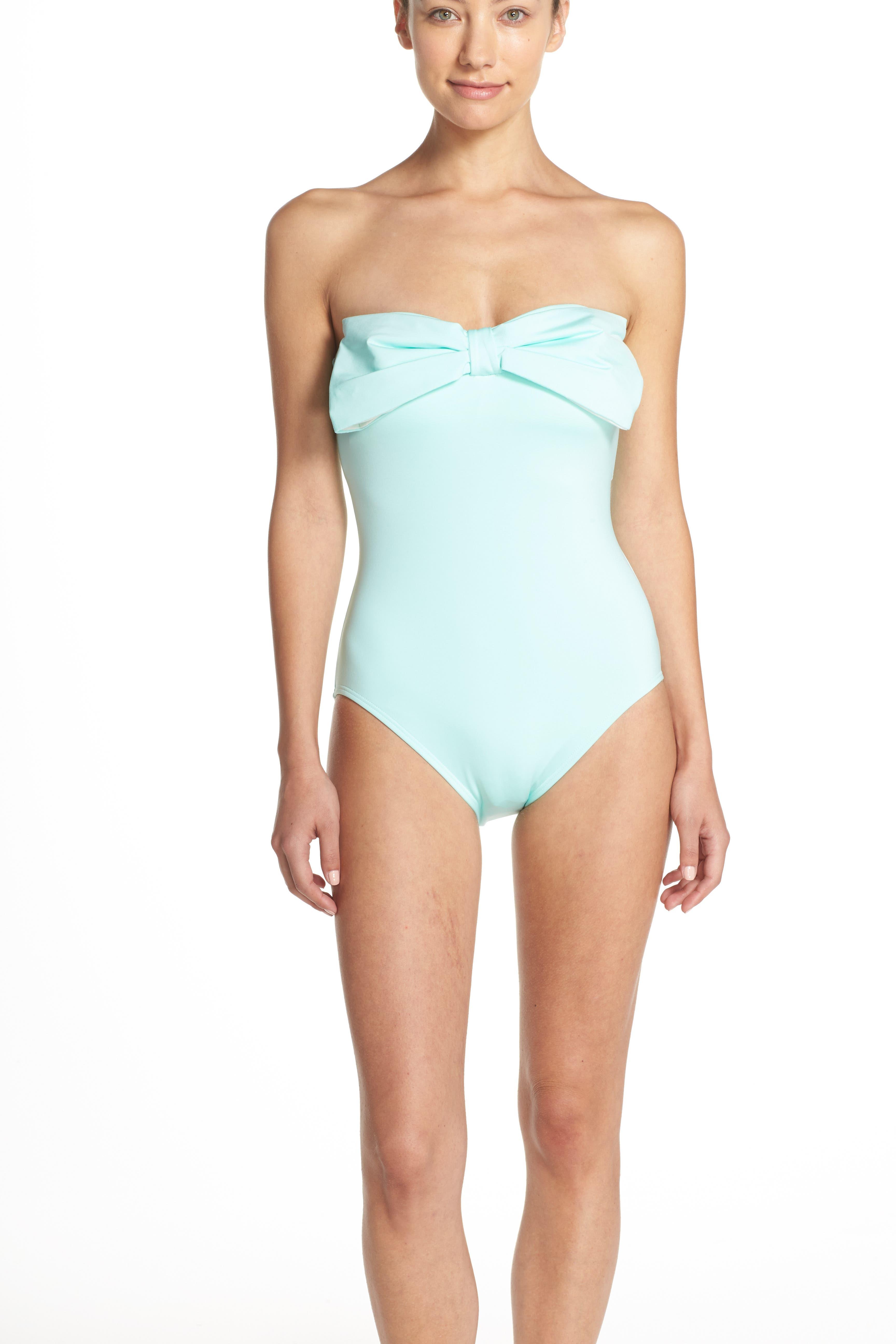 bow neck one-piece swimsuit,                             Alternate thumbnail 8, color,
