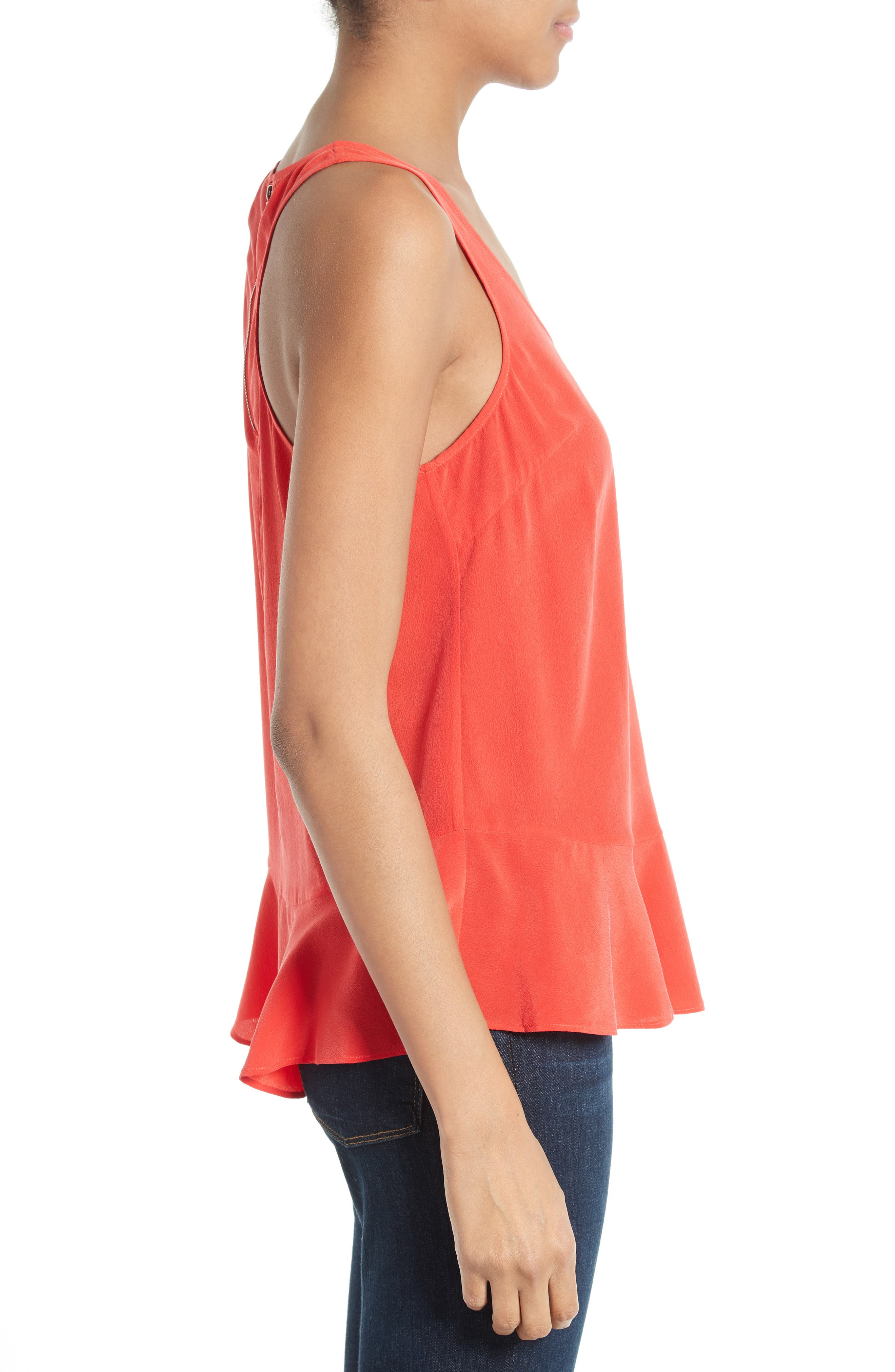 Cosma Silk Flounce Hem Tank,                             Alternate thumbnail 5, color,