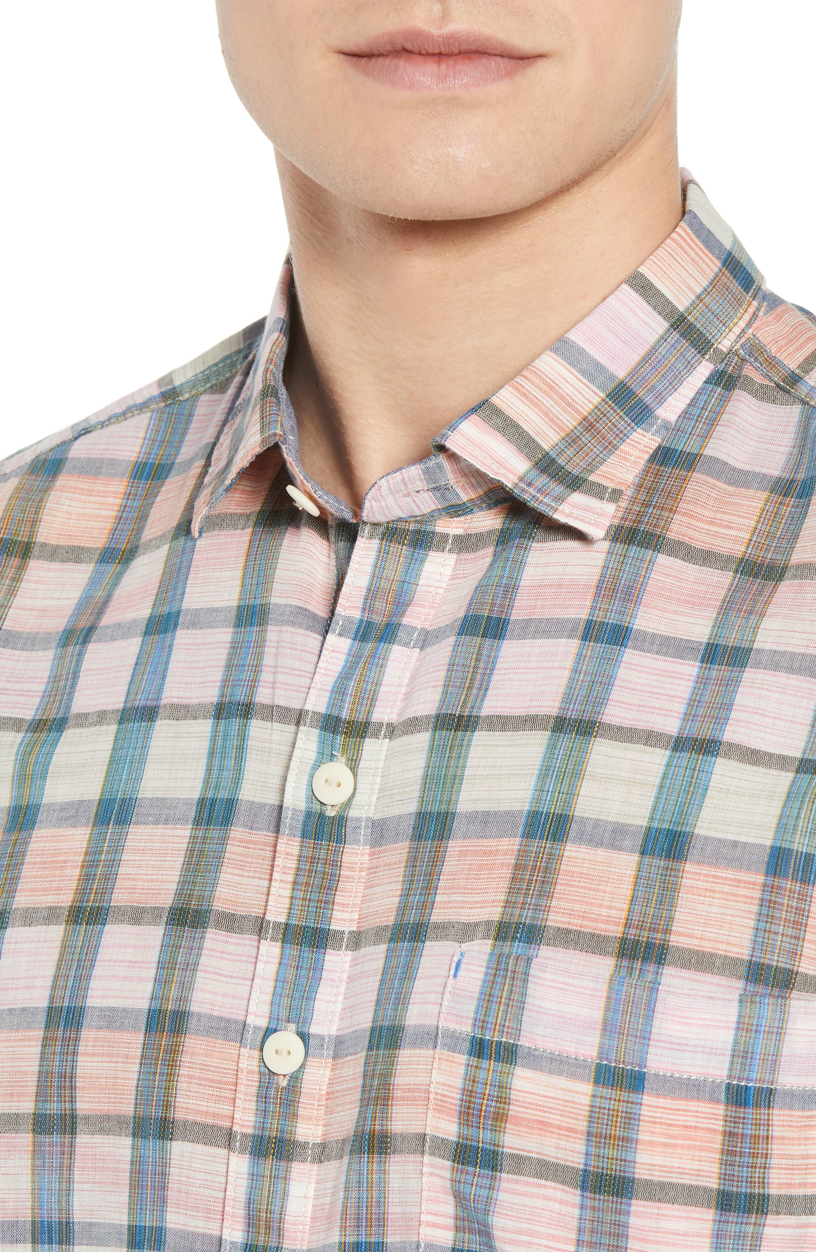 Pico Plaid Sport Shirt,                             Alternate thumbnail 4, color,                             800