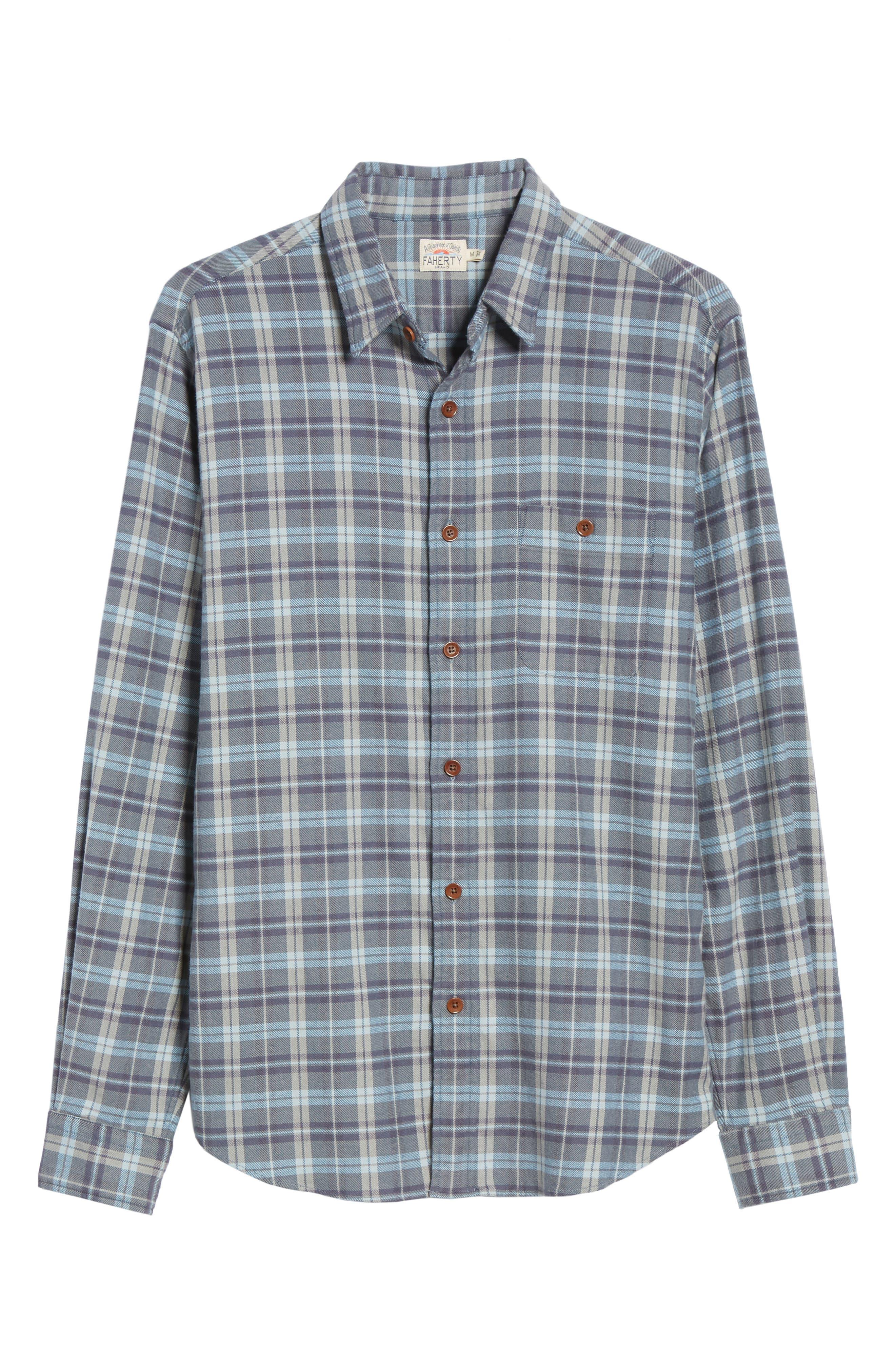 Seaview Stretch Flannel Shirt,                             Alternate thumbnail 5, color,                             DARK BLUE GREY