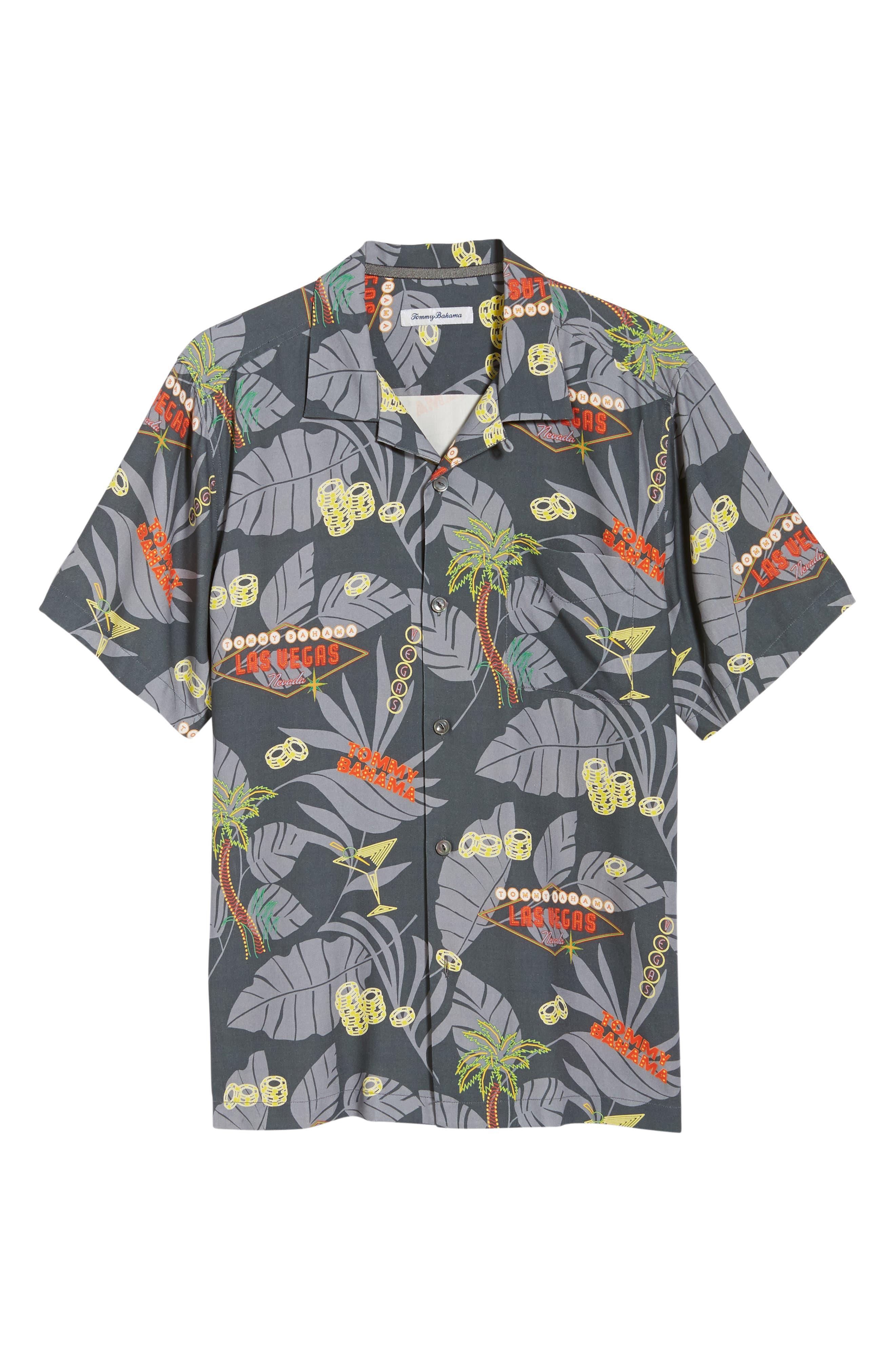 TOMMY BAHAMA,                             Poker in Paradise Silk Camp Shirt,                             Alternate thumbnail 6, color,                             001