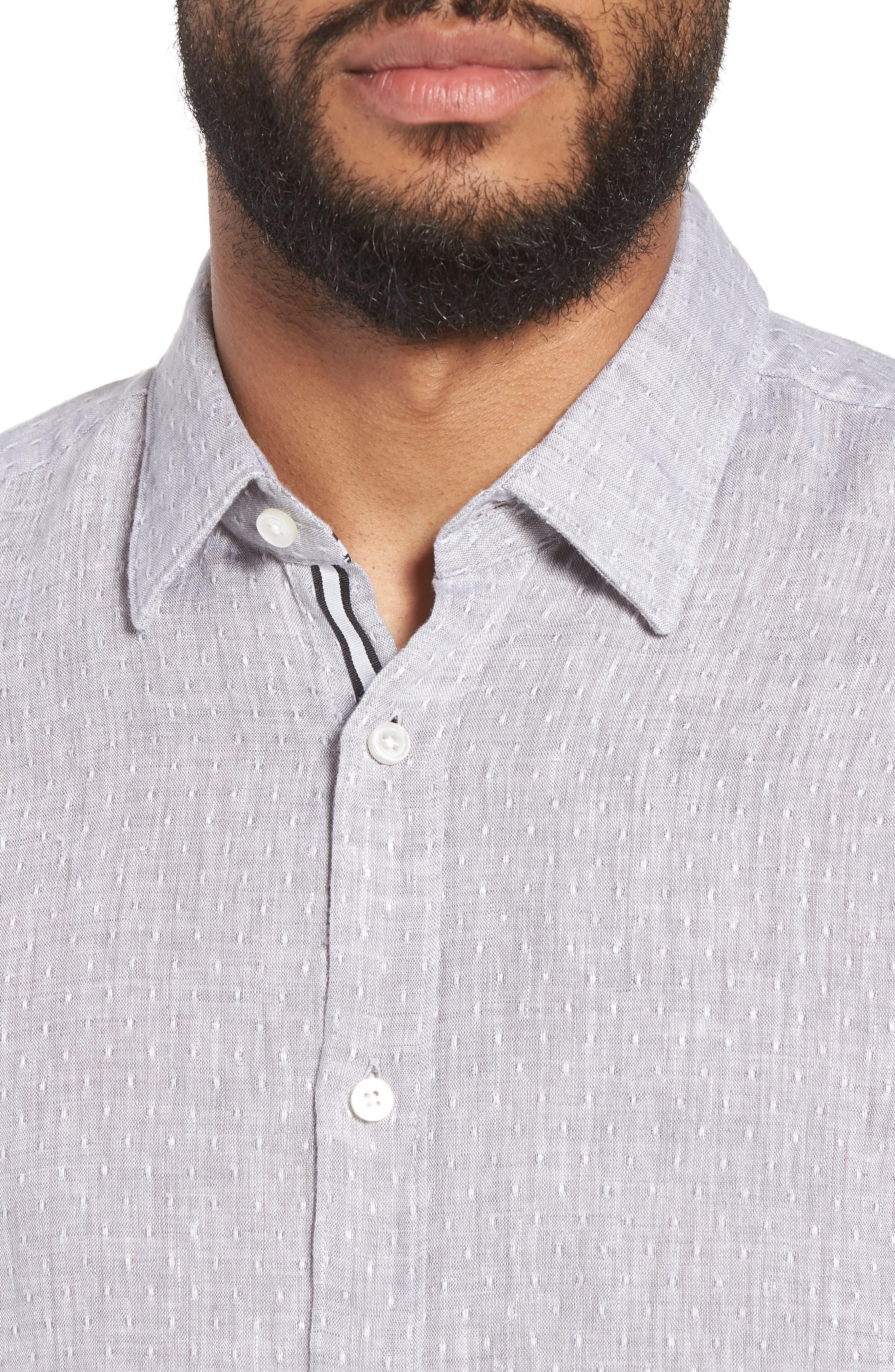 Ronni Slim Fit Dobby Linen Sport Shirt,                             Alternate thumbnail 7, color,