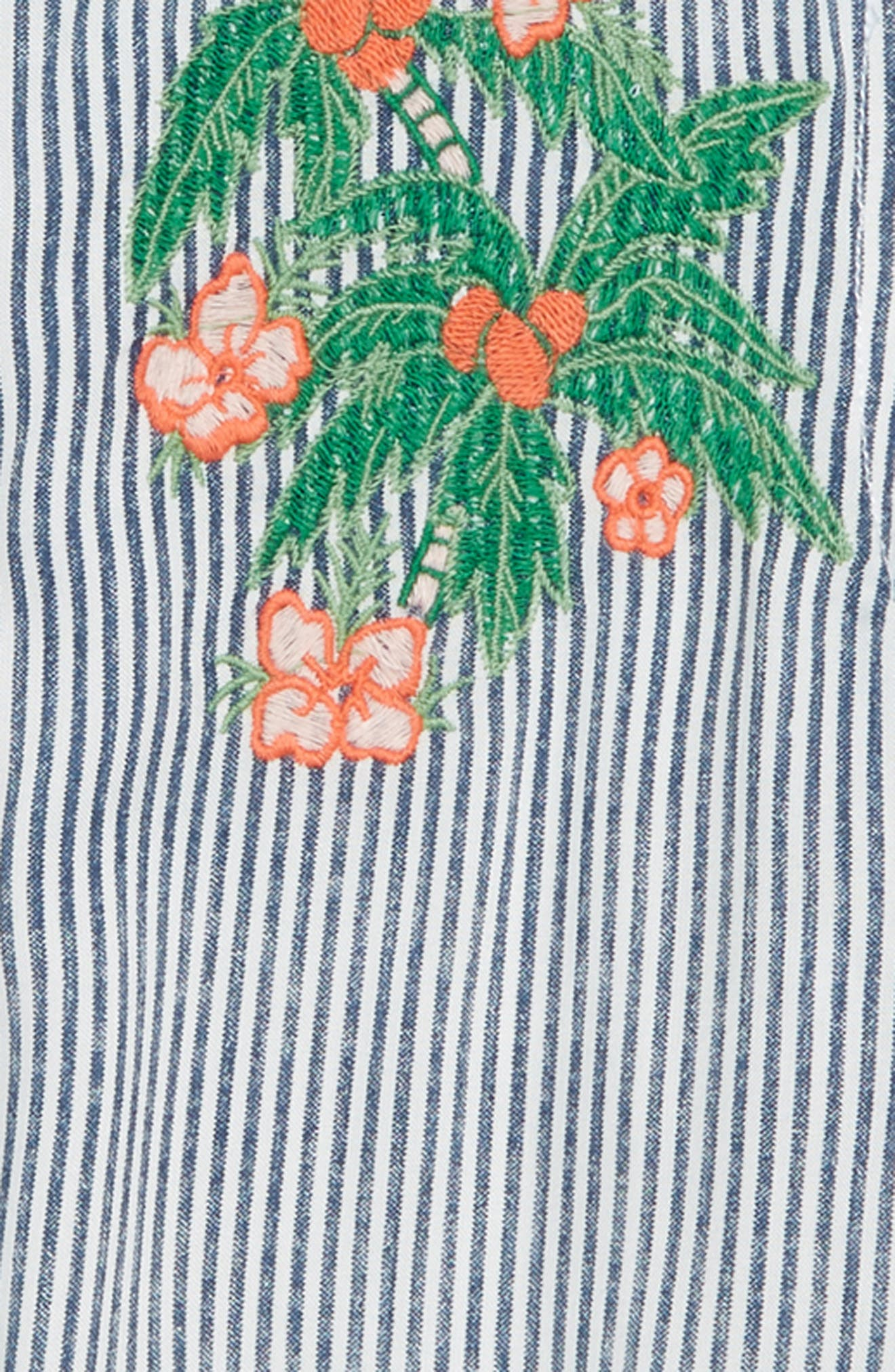 Embroidered Stripe Top,                             Alternate thumbnail 2, color,                             WHITE- NAVY