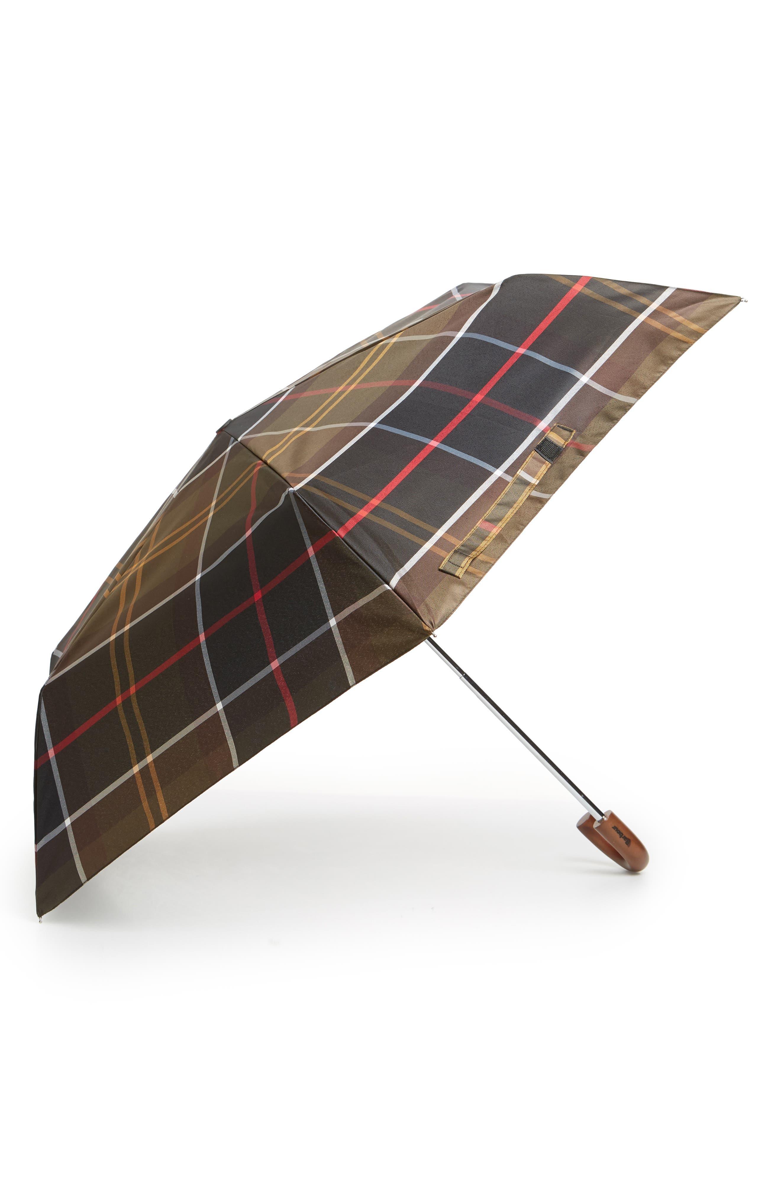 BARBOUR Tartan Plaid Mini Umbrella - Green in Classic Tartan