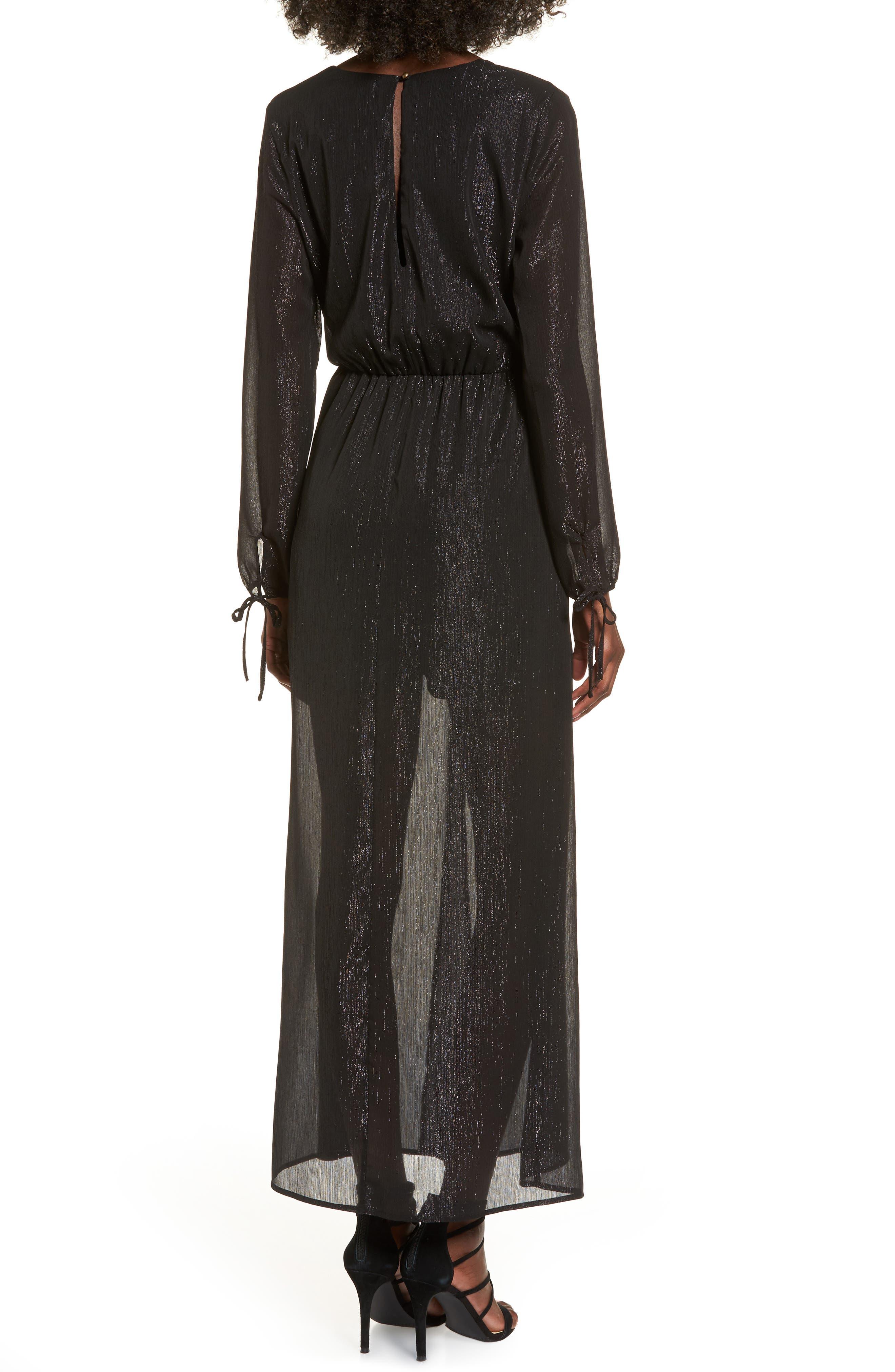 Metallic Surplice Dress,                             Alternate thumbnail 2, color,                             002