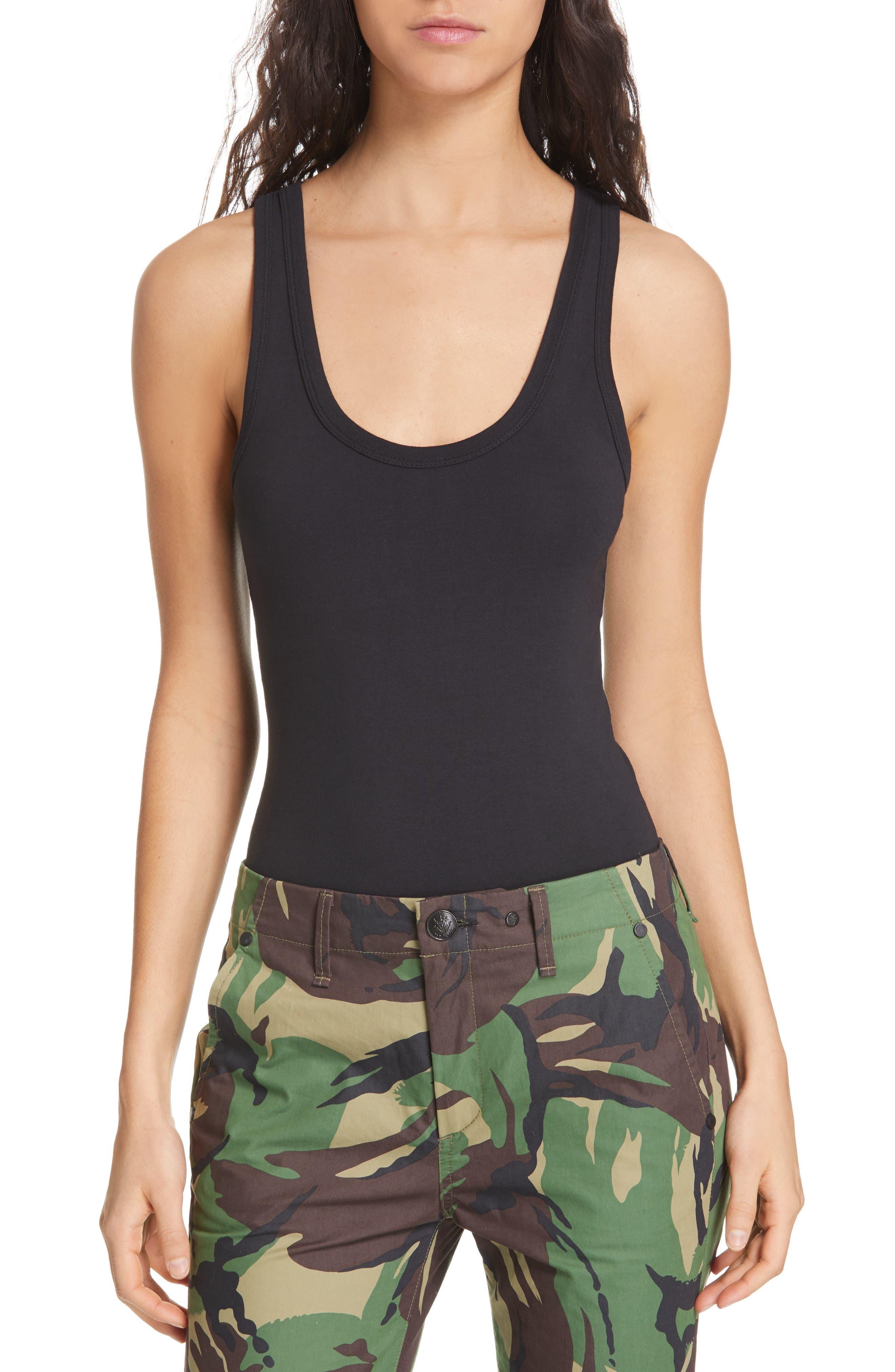 The Tank Stretch Cotton Bodysuit, Main, color, BLACK