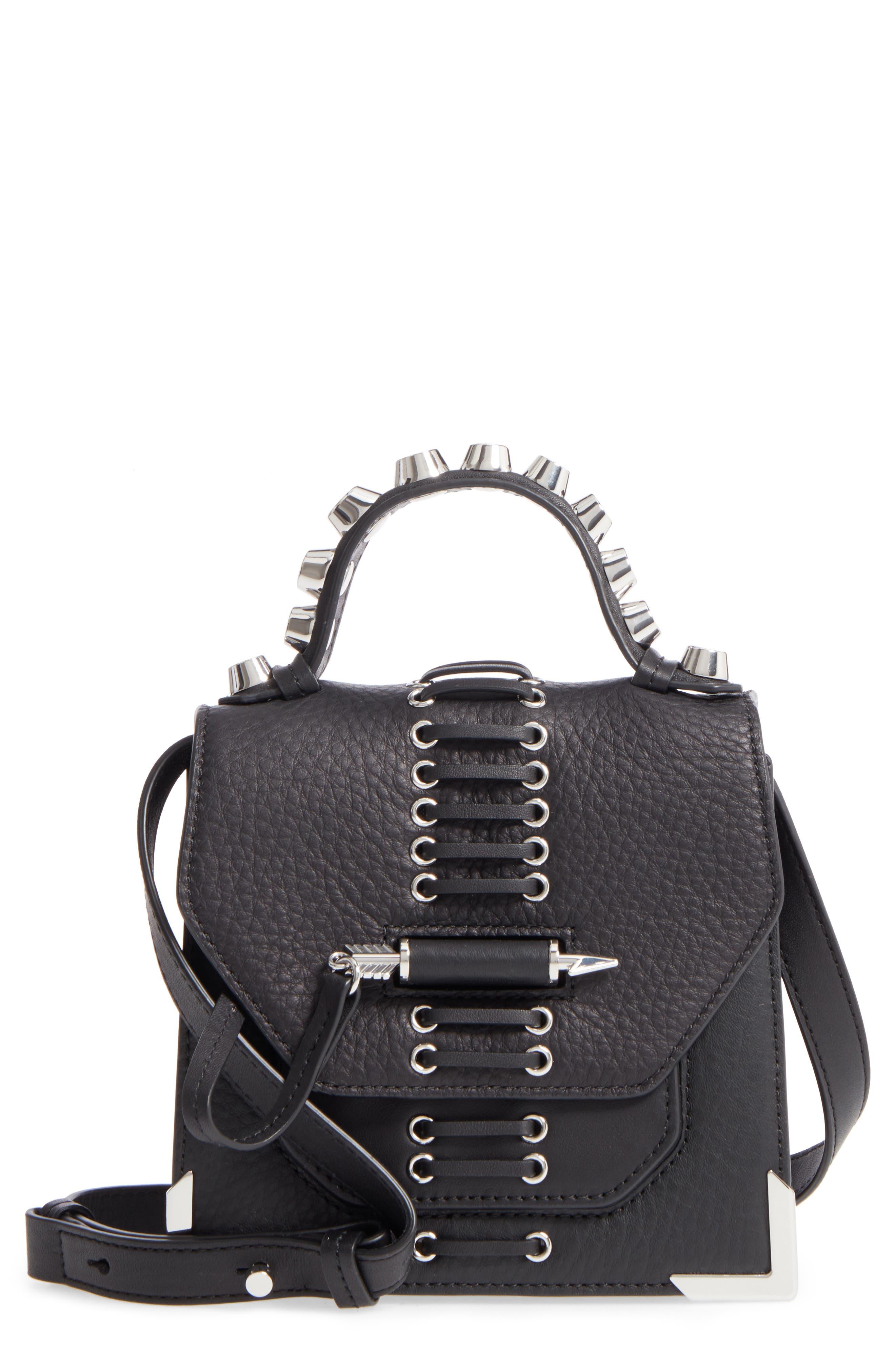 Mini Rubie Leather Crossbody Bag,                             Main thumbnail 1, color,                             001