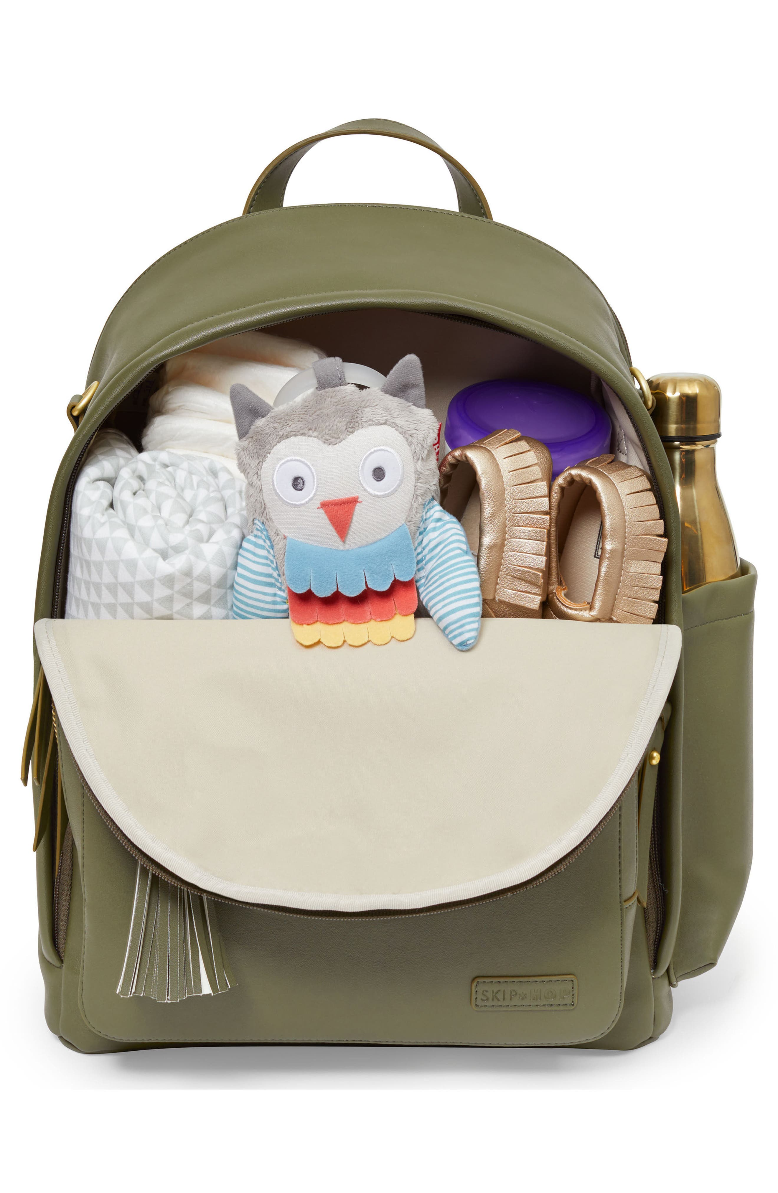SKIP HOP,                             Greenwich Simply Chic Diaper Backpack,                             Alternate thumbnail 2, color,                             OLIVE