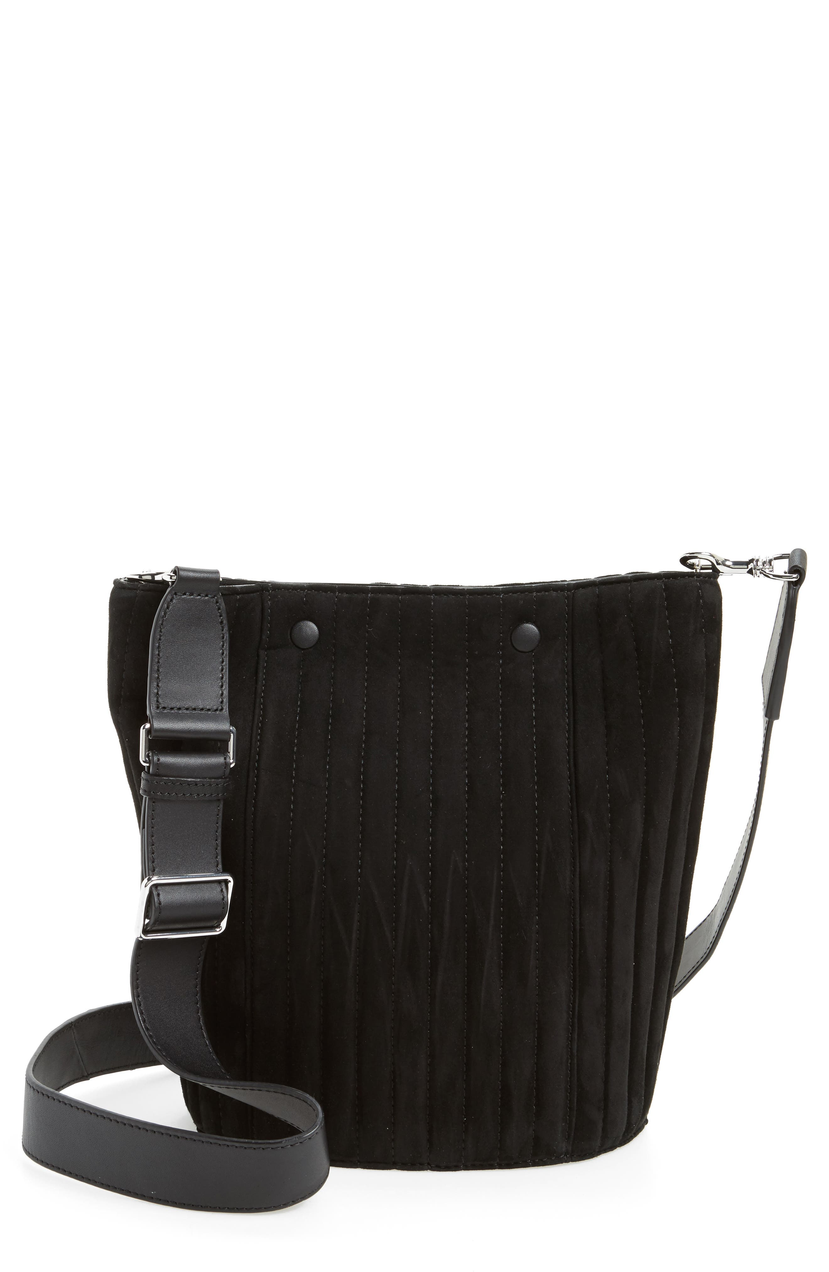 Rhys Quilted Suede Bucket Bag,                             Main thumbnail 1, color,                             001