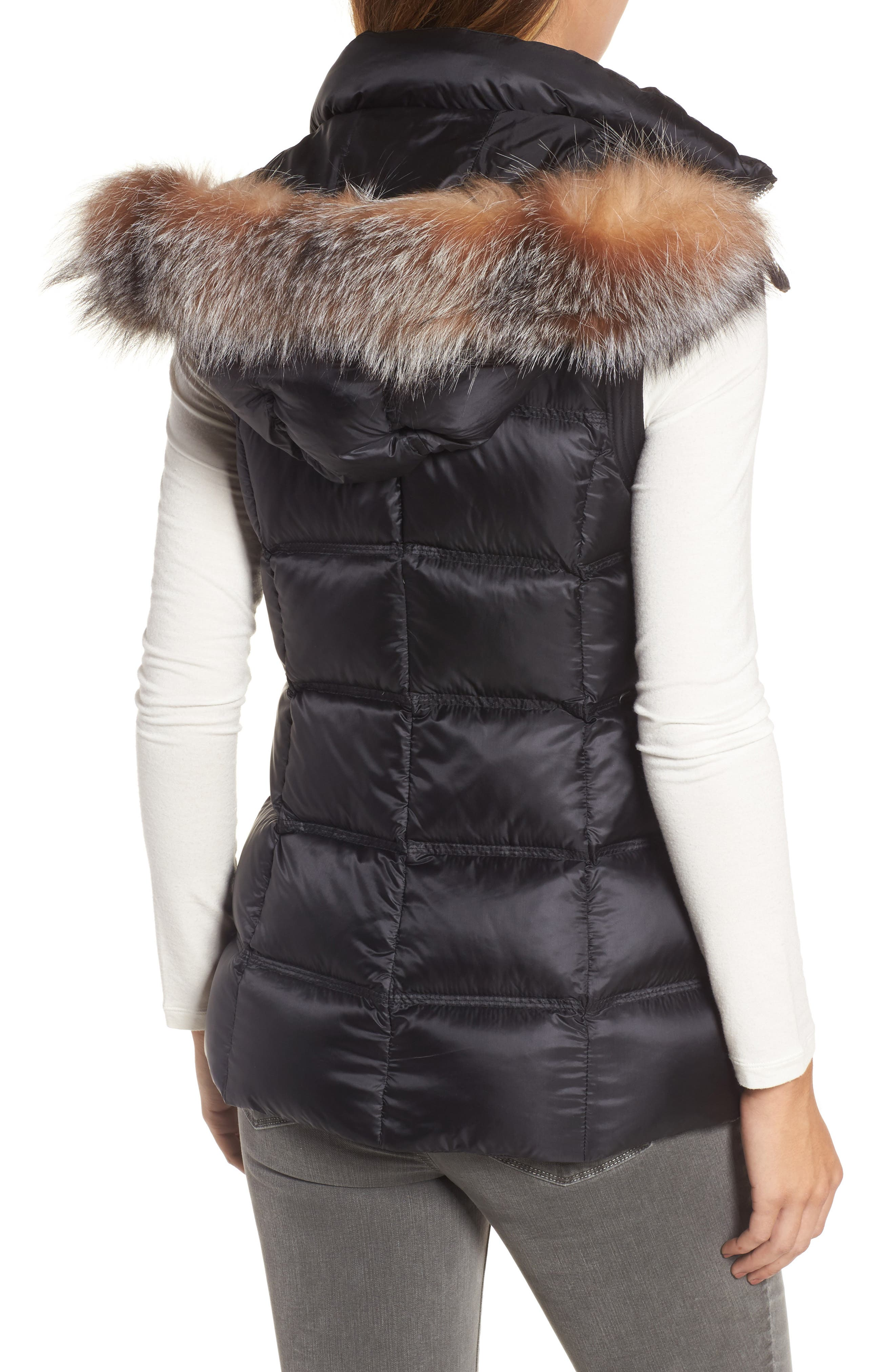 Claire 28 Water Resistant Hooded Down Vest with Genuine Fox Fur Trim,                             Alternate thumbnail 2, color,                             001