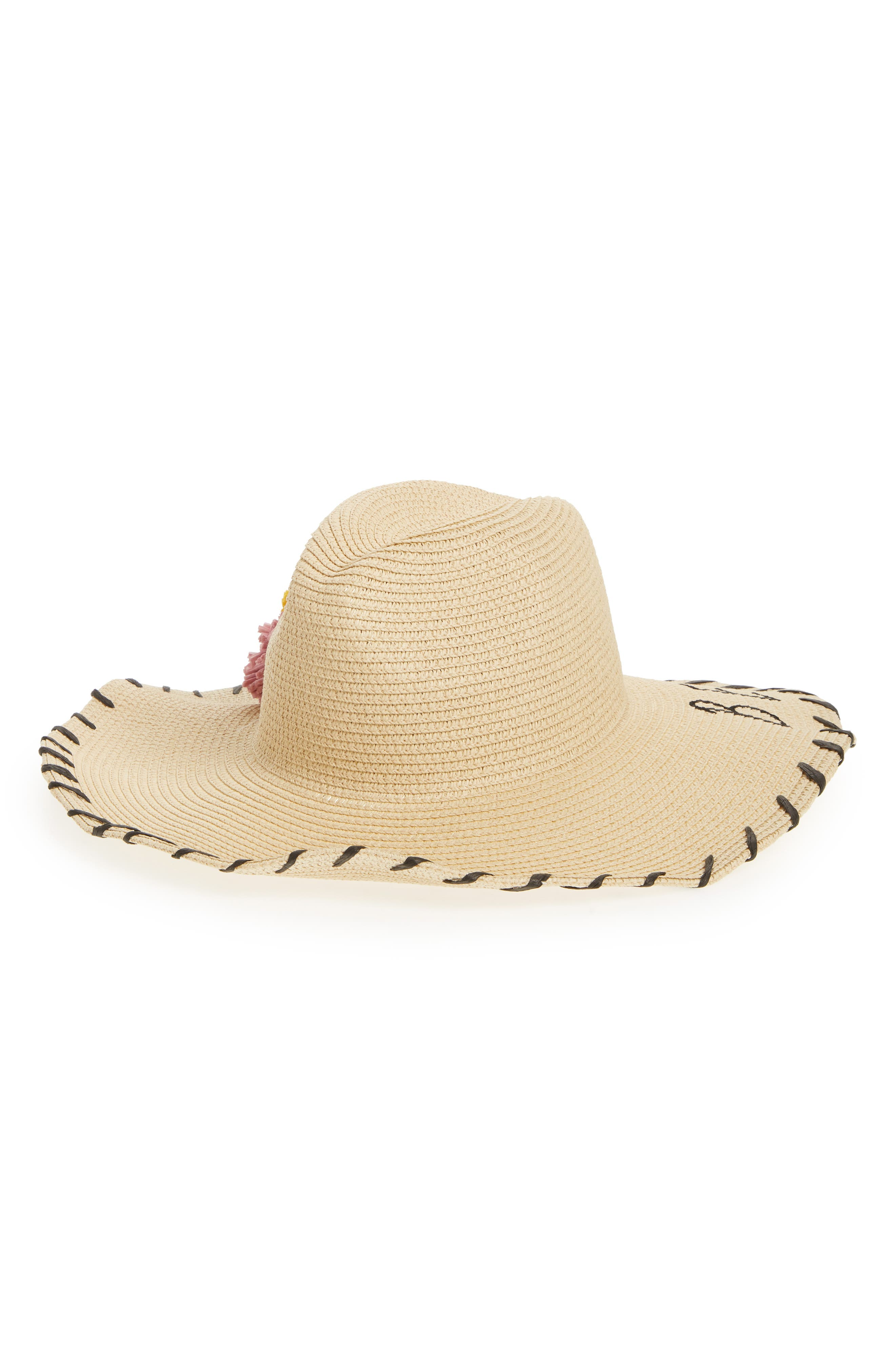 Verbiage Pom Straw Panama Hat,                         Main,                         color, 250