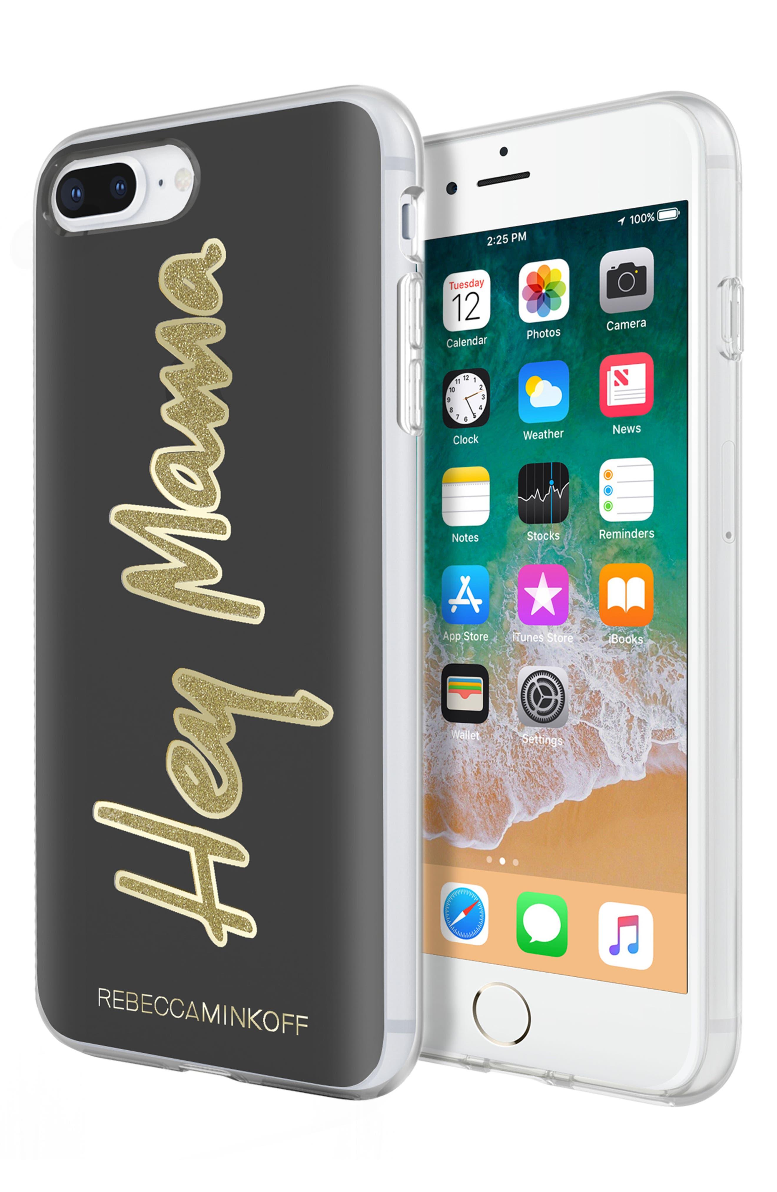 Hey Mama iPhone 7/8 & 7/8 Plus Case,                             Alternate thumbnail 7, color,                             BLACK/ GOLD GLITTER