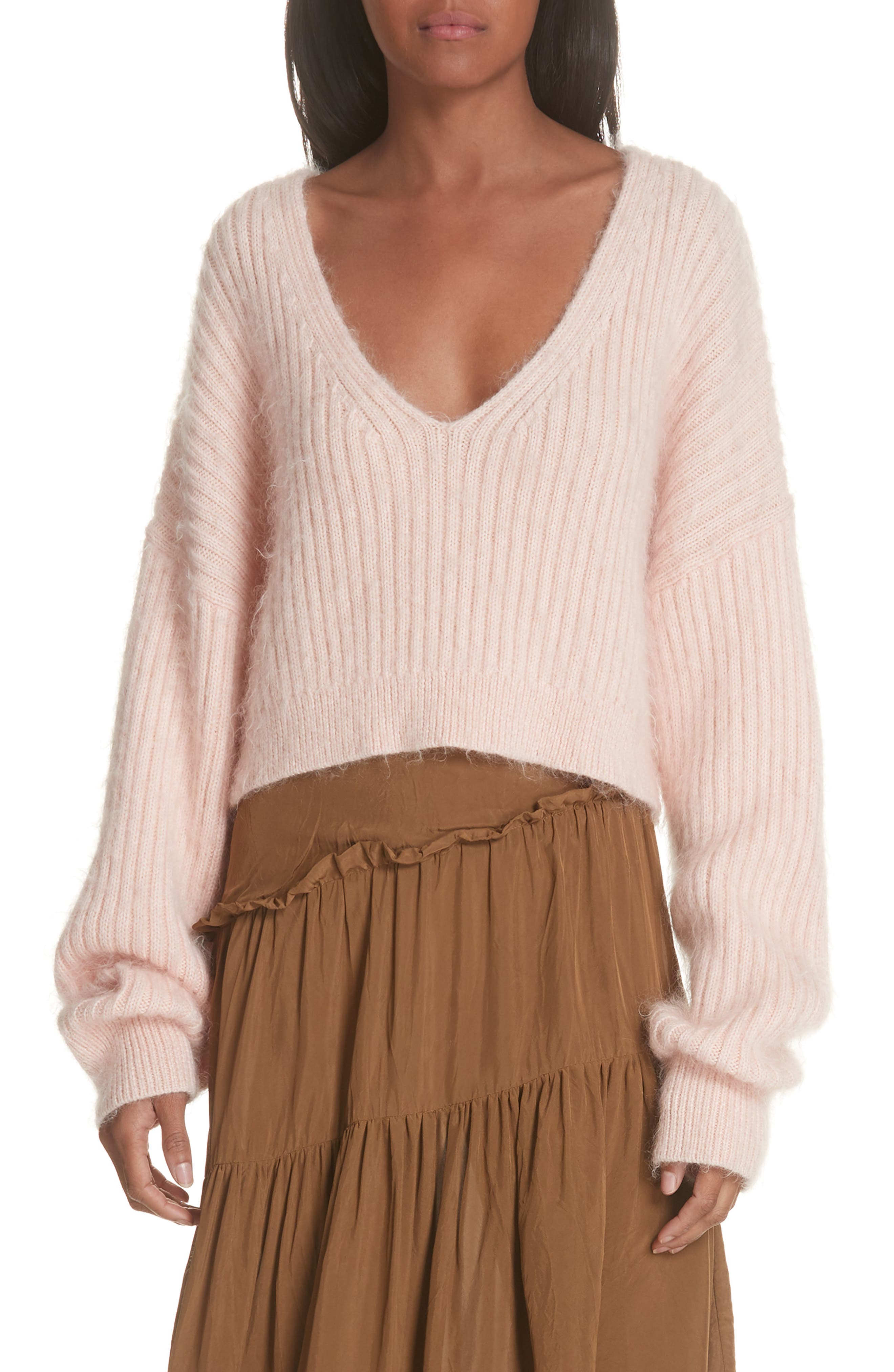 Oversized Cropped Ribbed Wool-Blend Sweater in Blush
