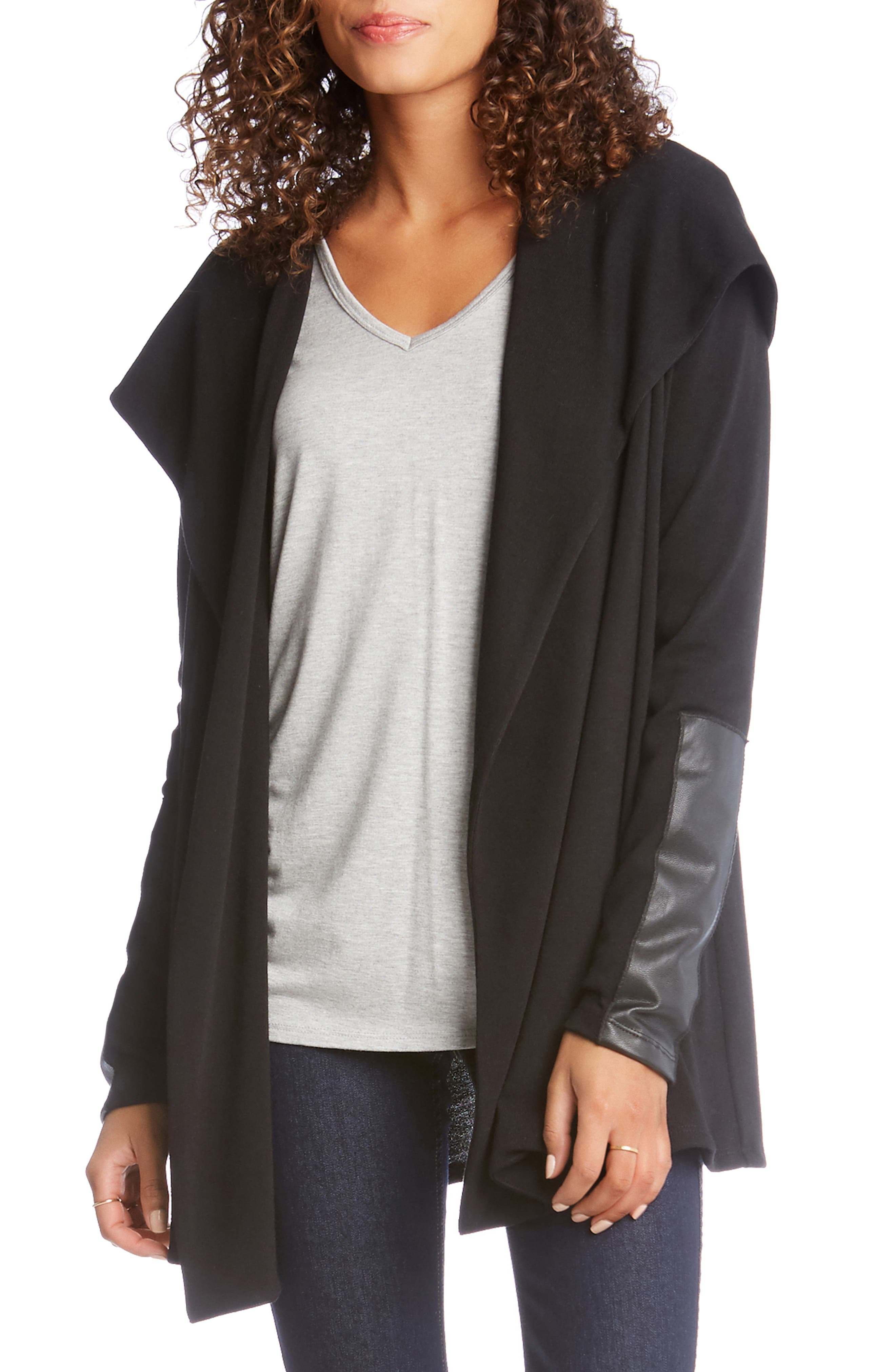 Faux Leather Detail Jacket,                             Alternate thumbnail 3, color,                             001