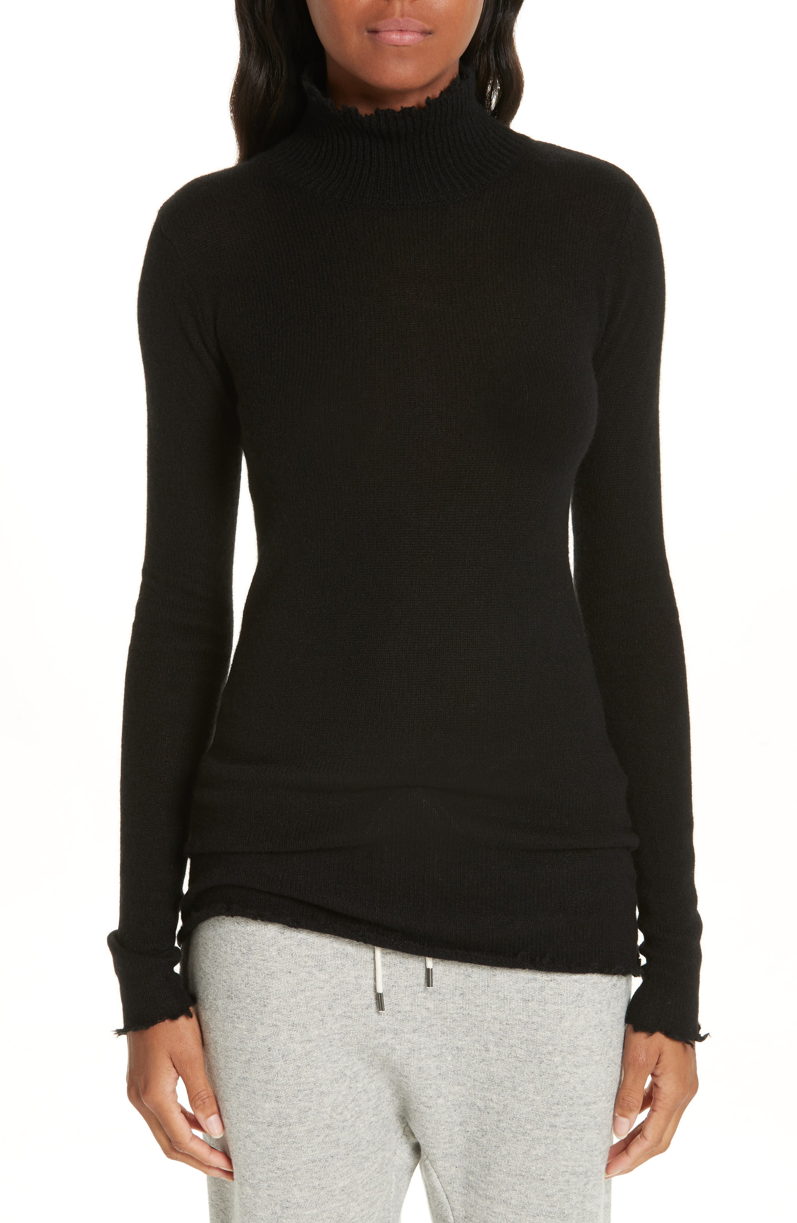 R13,                             Distressed Cashmere Turtleneck Sweater,                             Main thumbnail 1, color,                             001