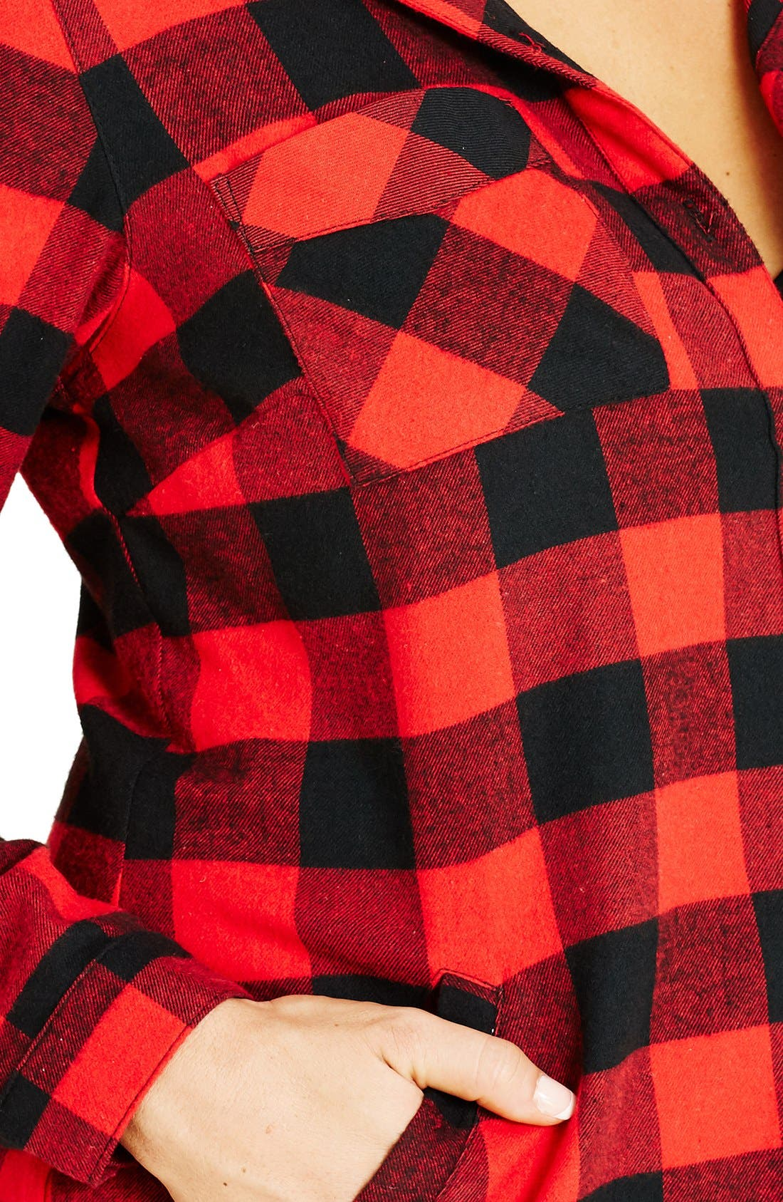 Plaid Boyfriend Shirt,                             Alternate thumbnail 3, color,                             610
