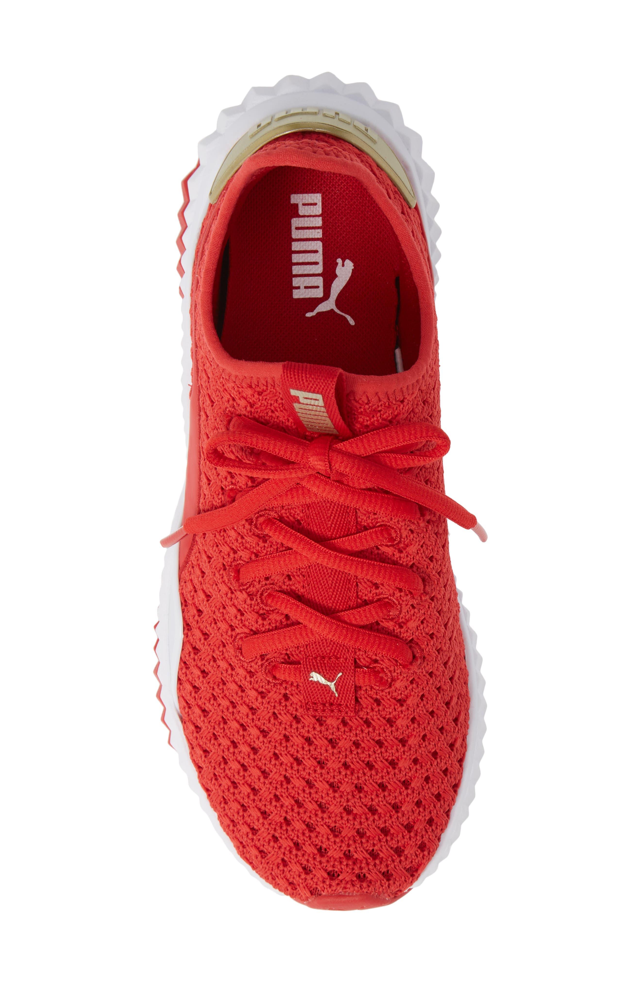 Defy Varsity Sneaker,                             Alternate thumbnail 5, color,                             RIBBON RED/ METALLIC GOLD