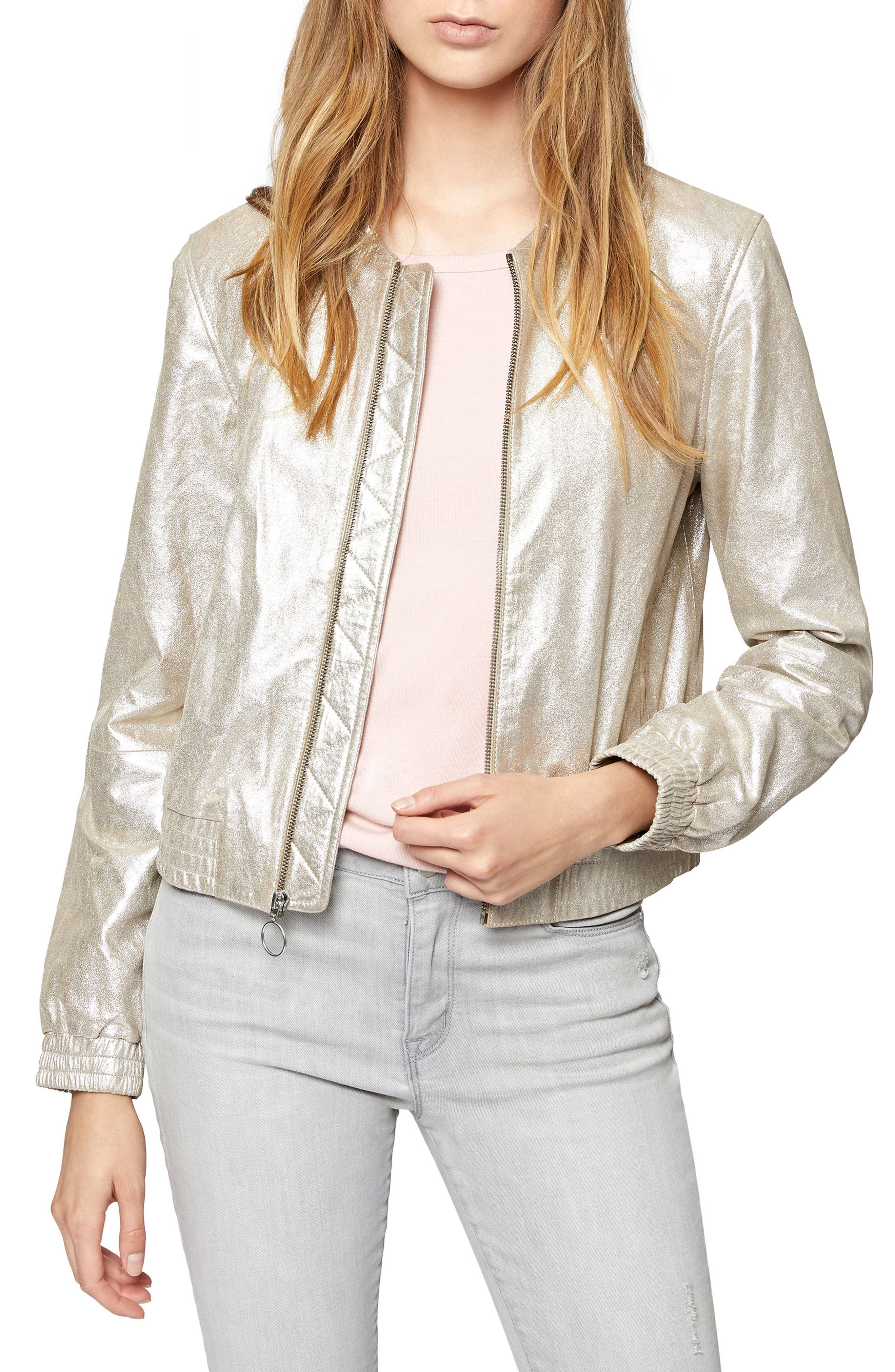 Cool Gang Metallic Leather Bomber Jacket,                         Main,                         color, 040