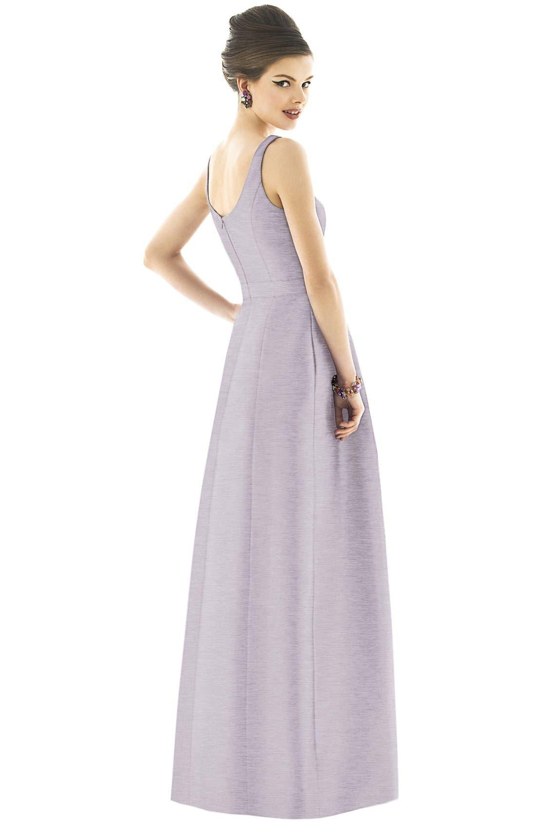 Scoop Neck Dupioni Full Length Dress,                             Alternate thumbnail 18, color,