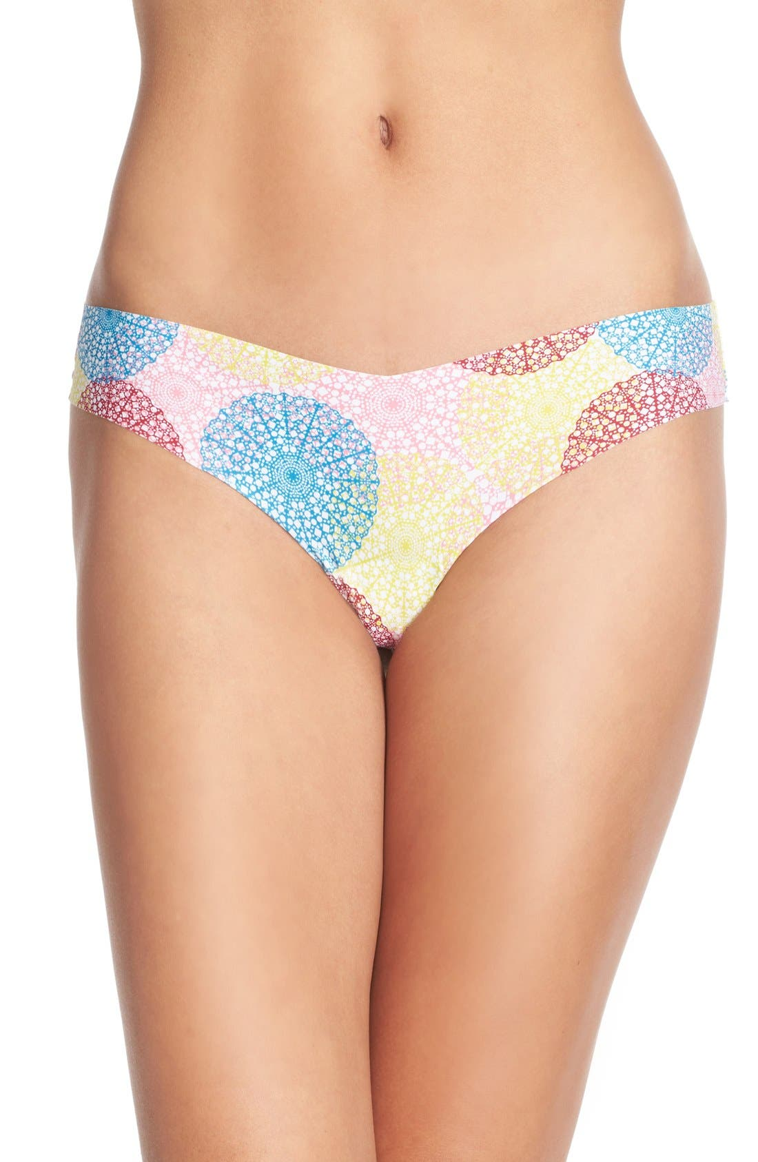 Print Microfiber Thong,                             Main thumbnail 91, color,