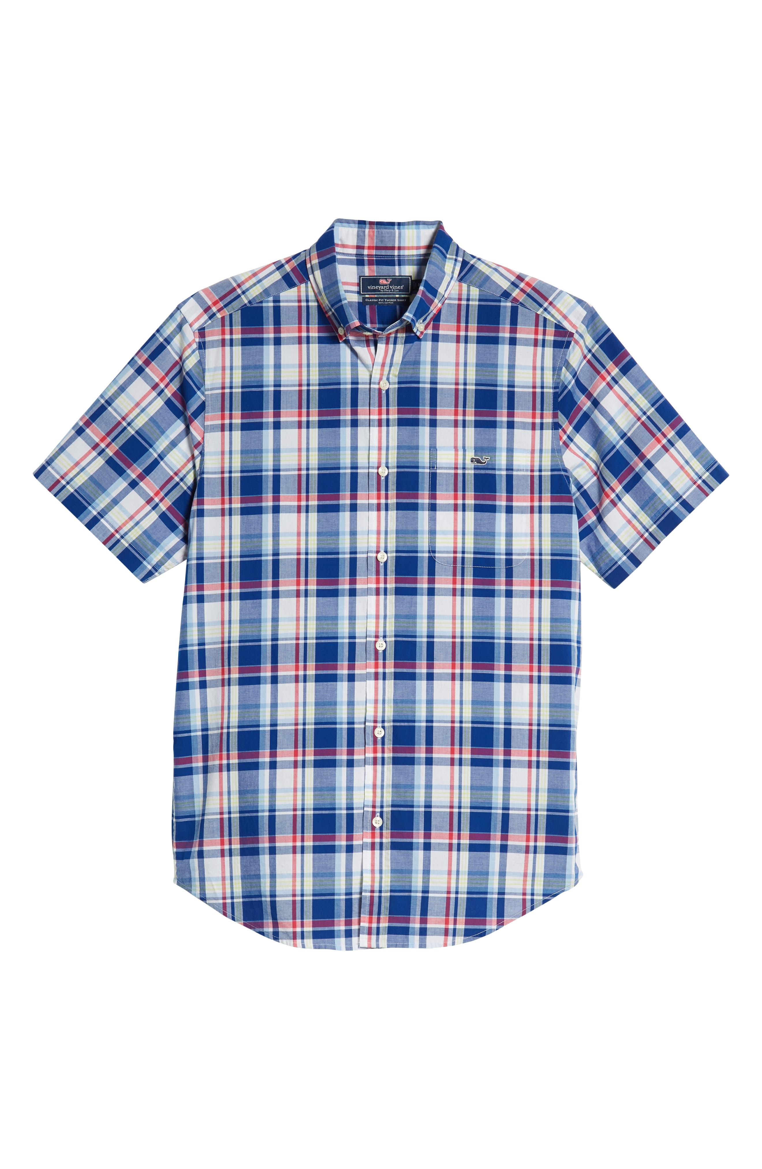 Classic Tucker Regular Fit Plaid Sport Shirt,                             Alternate thumbnail 5, color,                             461