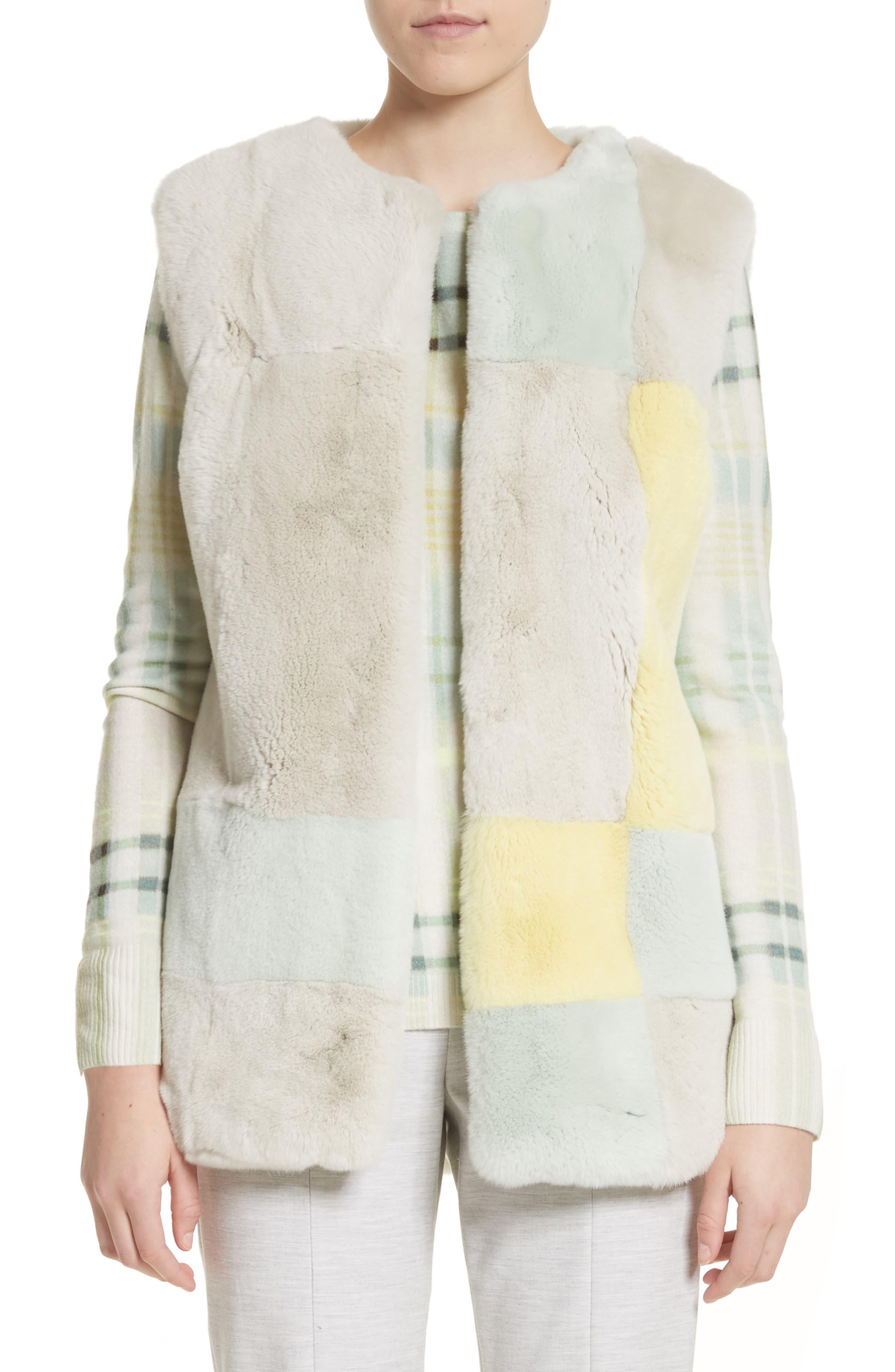 Genuine Rabbit Fur Intarsia Vest,                         Main,                         color, 205
